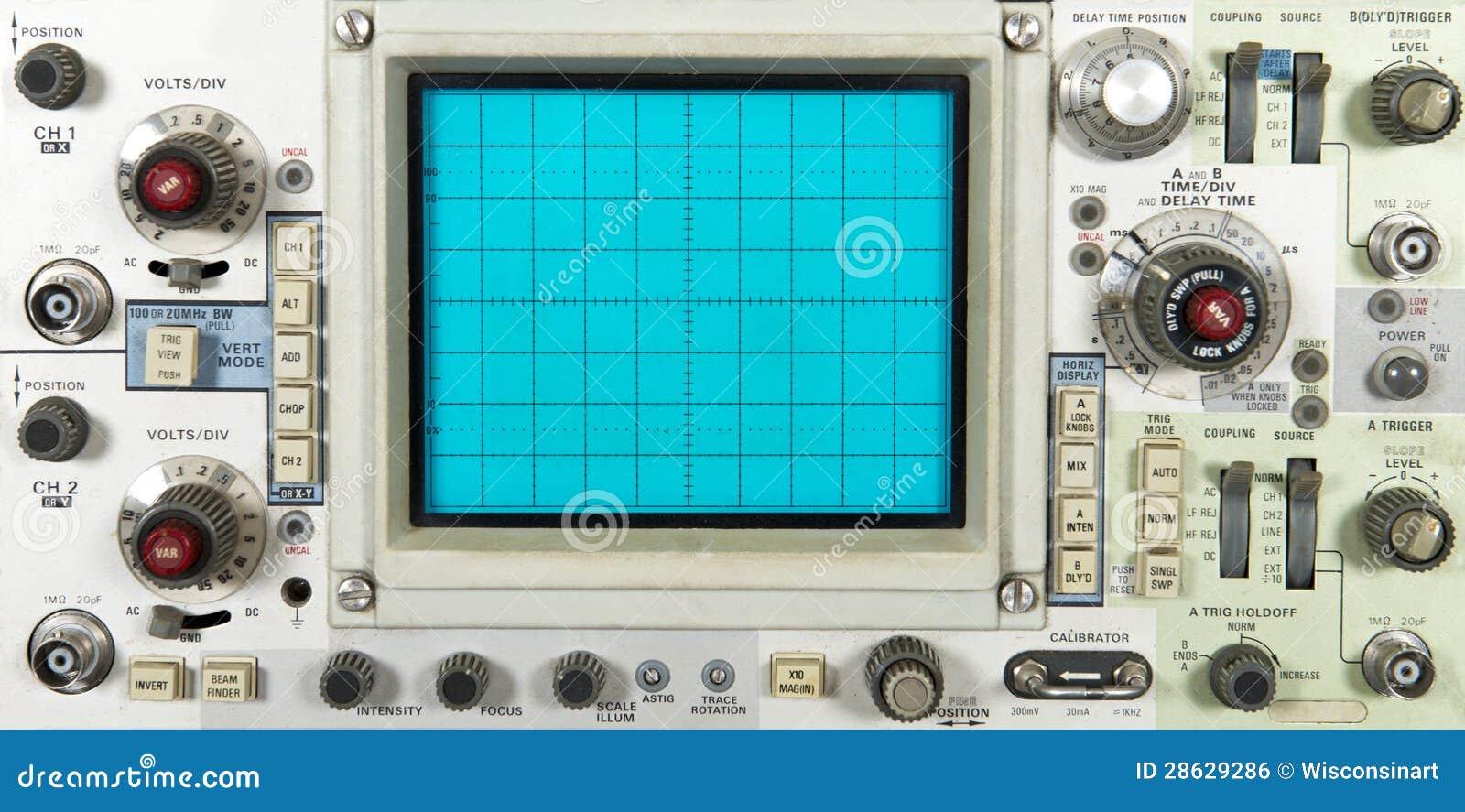 Placa dianteira eletrônica velha do osciloscópio, tecnologia