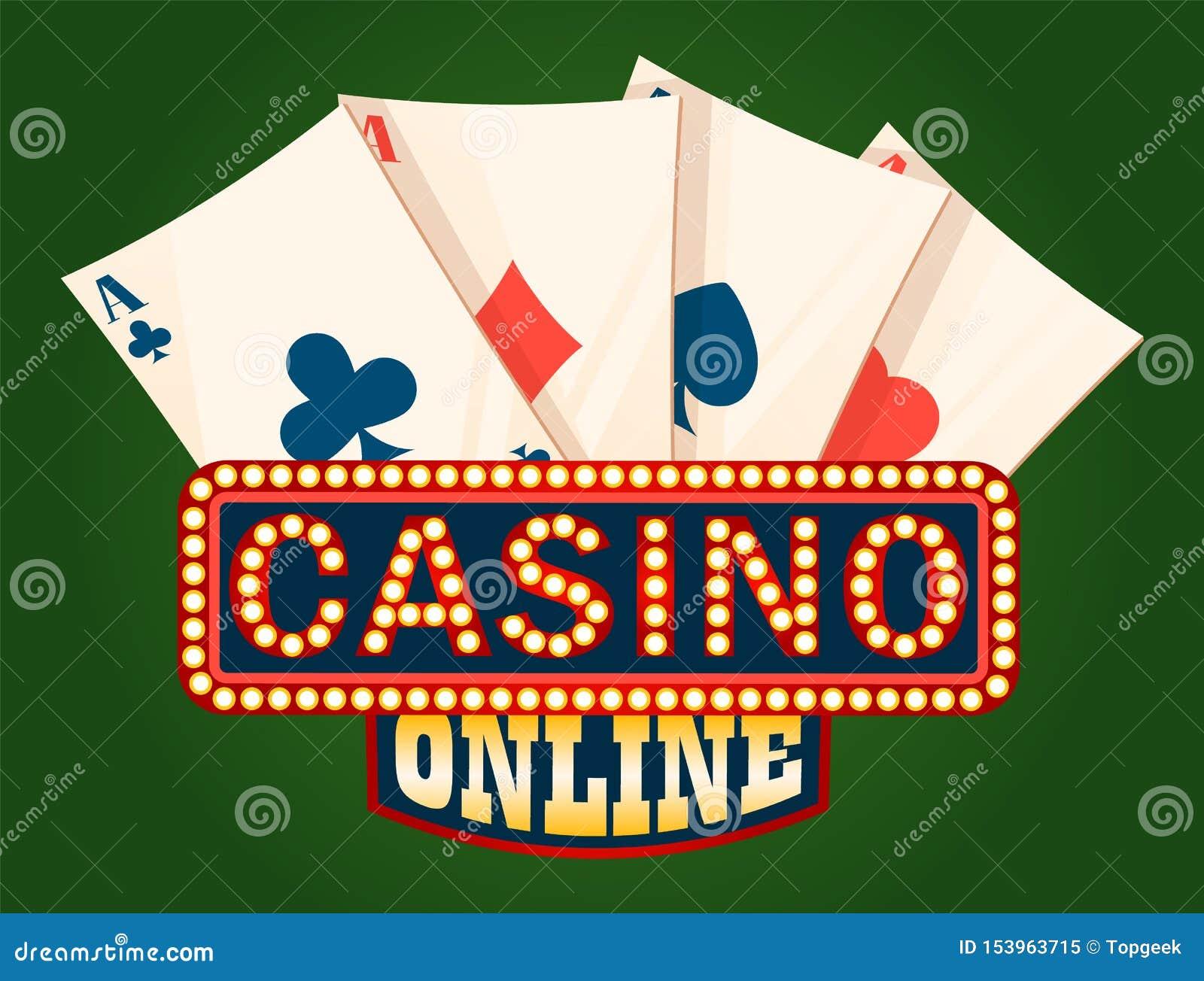 Placa do casino e plataforma brilhantes do vetor dos cartões de Ace