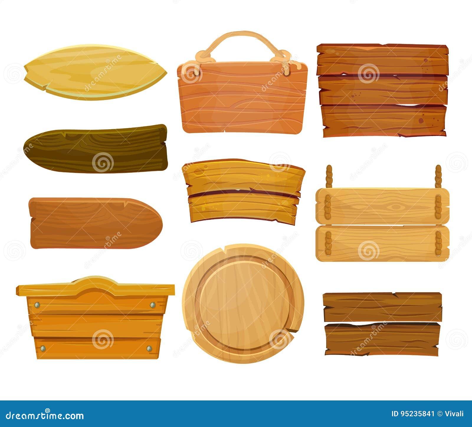 Placa e fitas de madeira marrons dos desenhos animados Placa de madeira ocidental velha, isolado ajustado do vetor no fundo branc