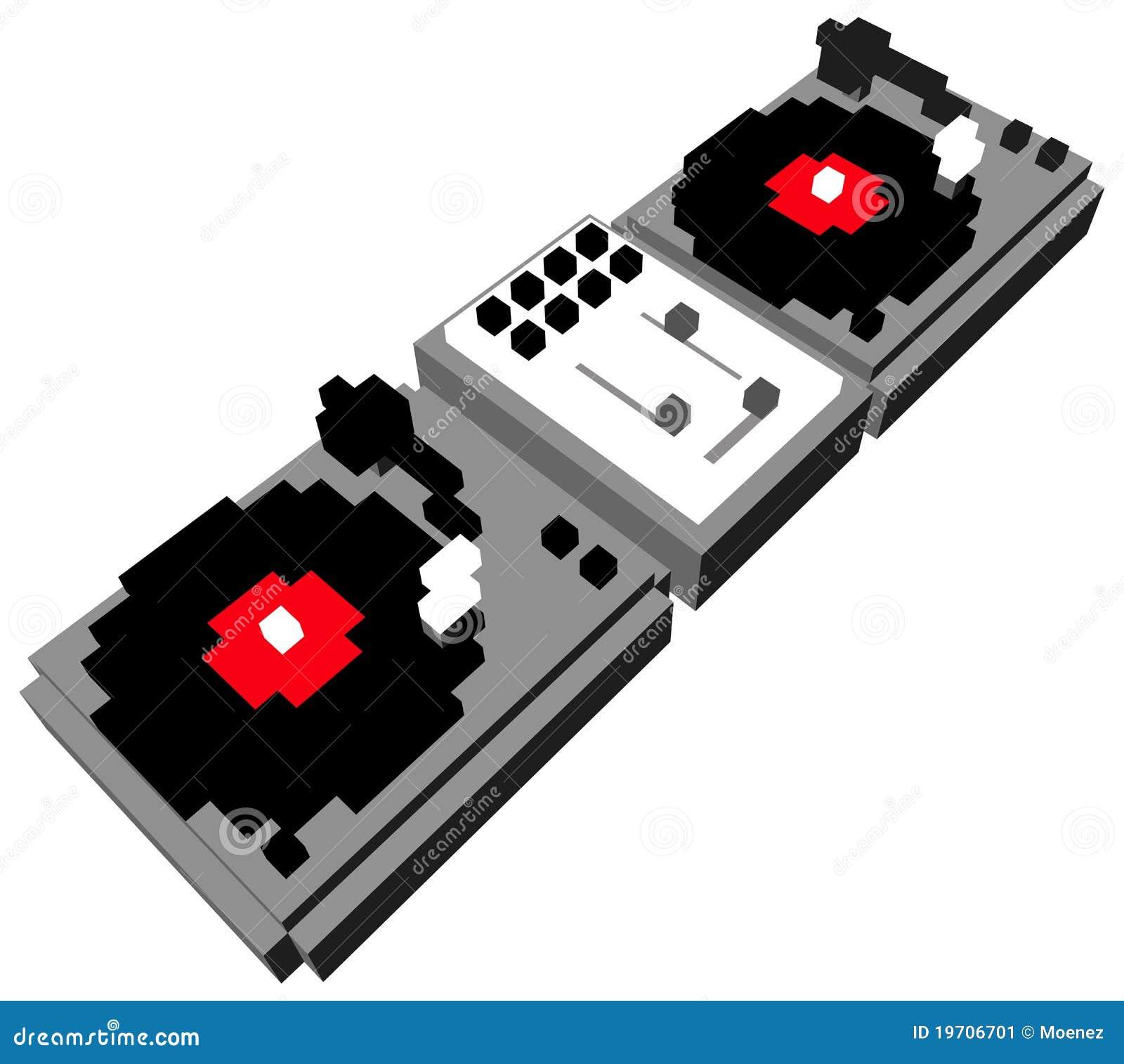 Placa giratoria doble de DJ de la historieta