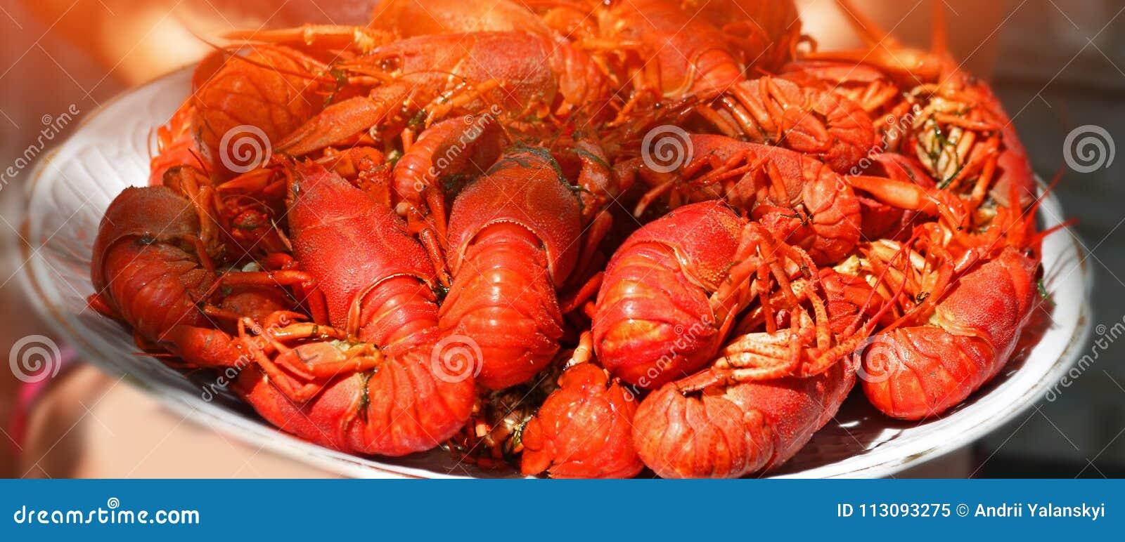 Placa grande del primer hervido sabroso de los cangrejos, mariscos