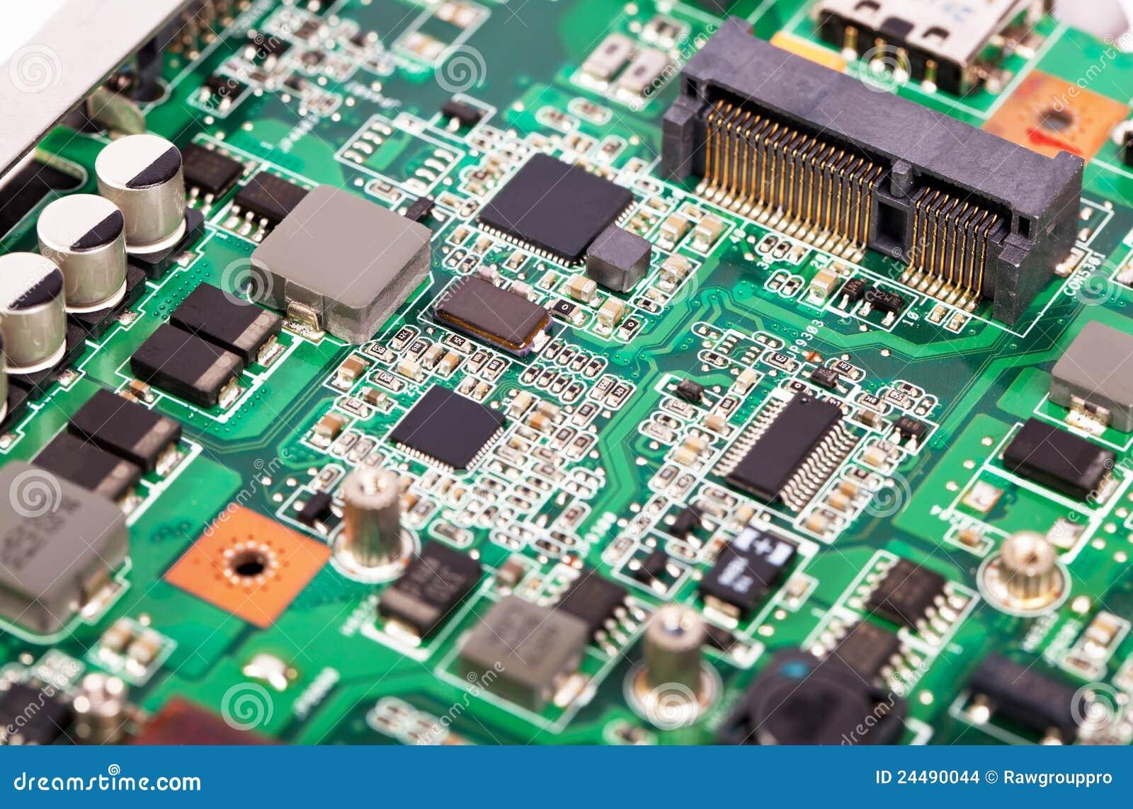 Placa madre de la computadora portátil con esquemas micro