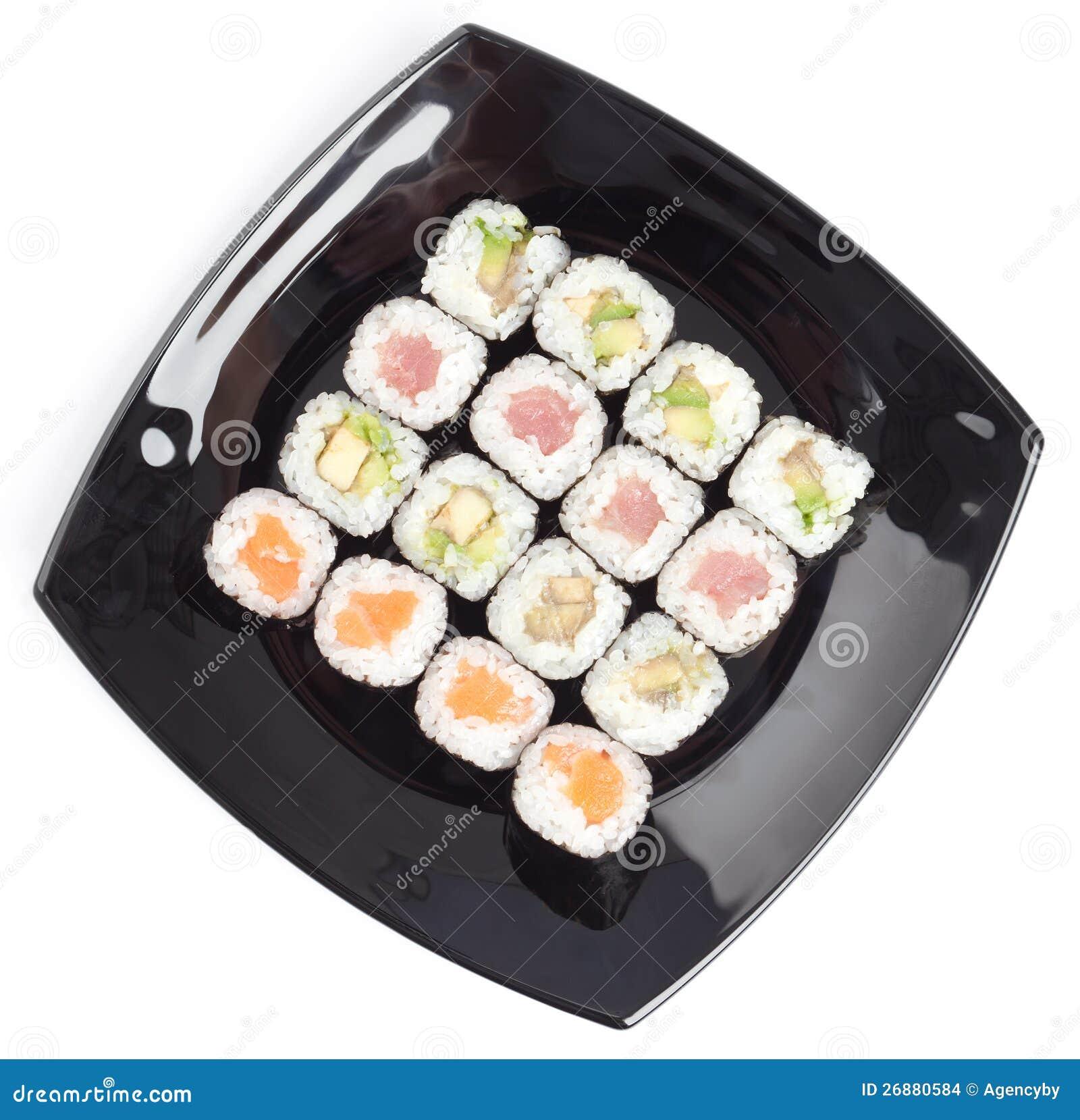 Placa preta do retângulo com sushi