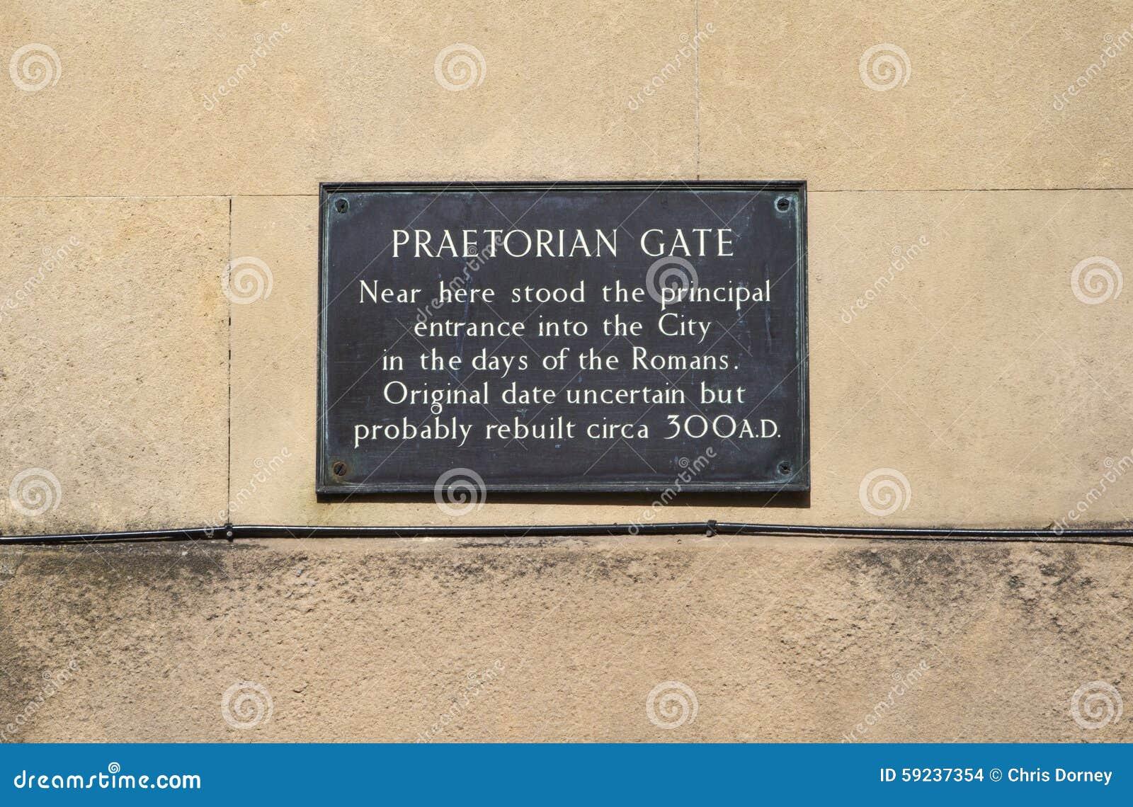 Placa pretoriana de la puerta en York