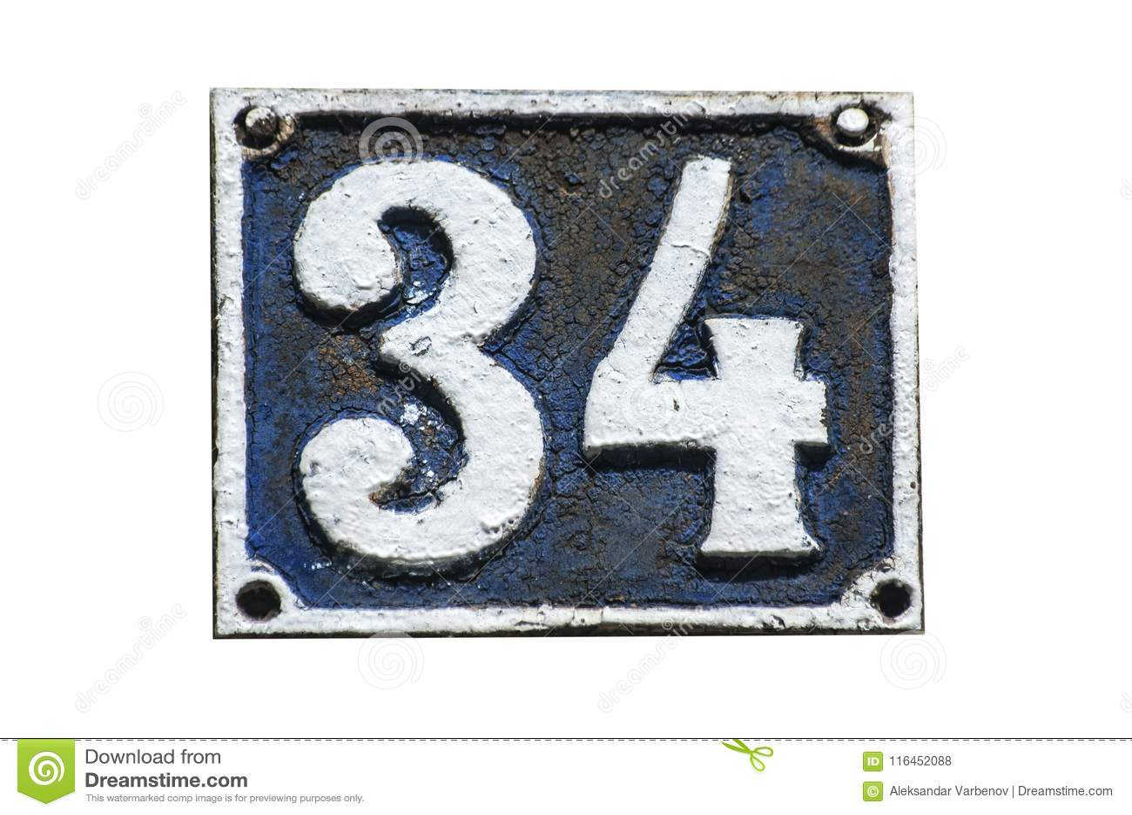 Placa Retra Vieja Número 34 Del Arrabio Foto de archivo - Imagen de ...