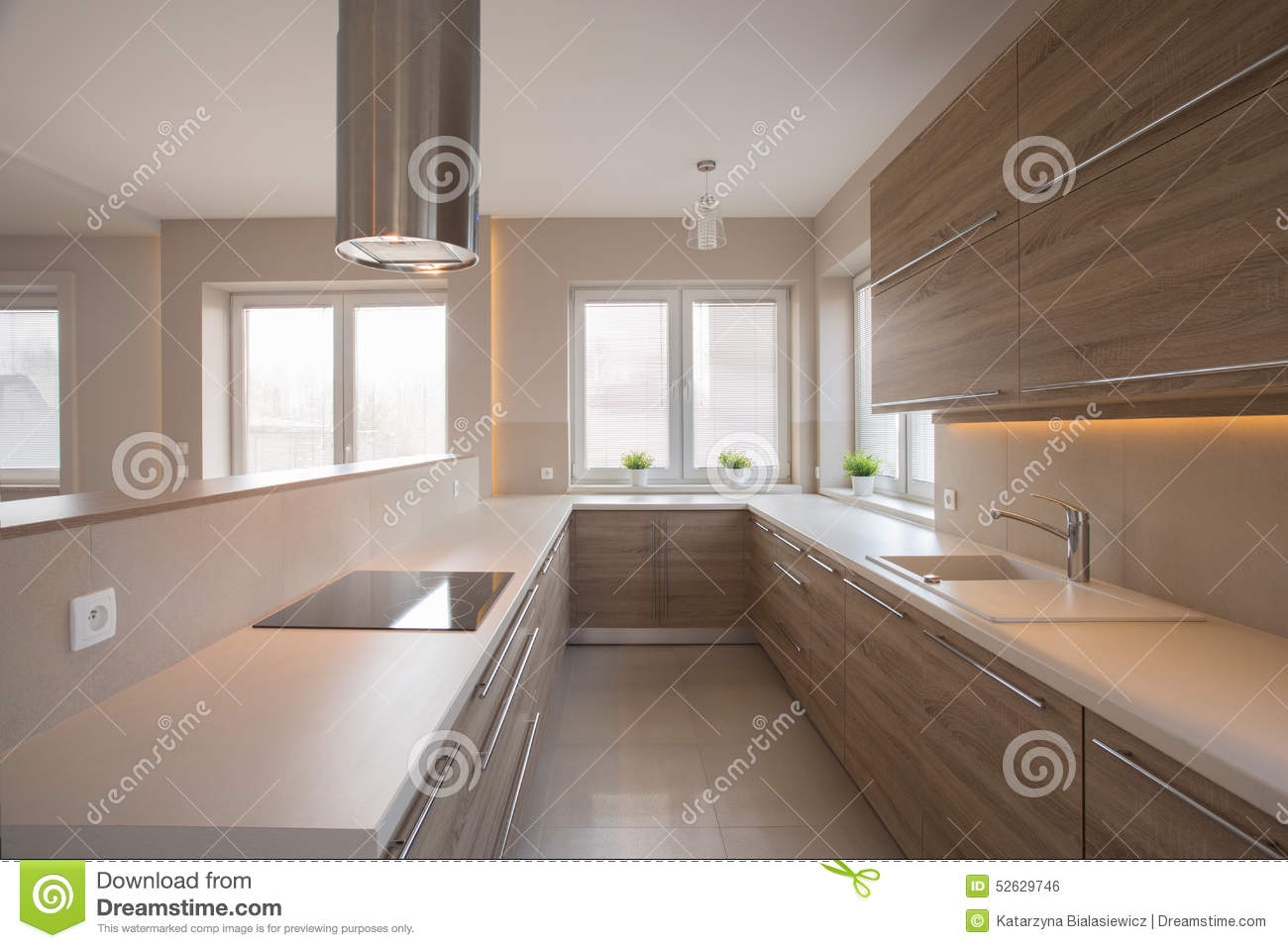 placards en bois dans la cuisine beige photo stock image. Black Bedroom Furniture Sets. Home Design Ideas