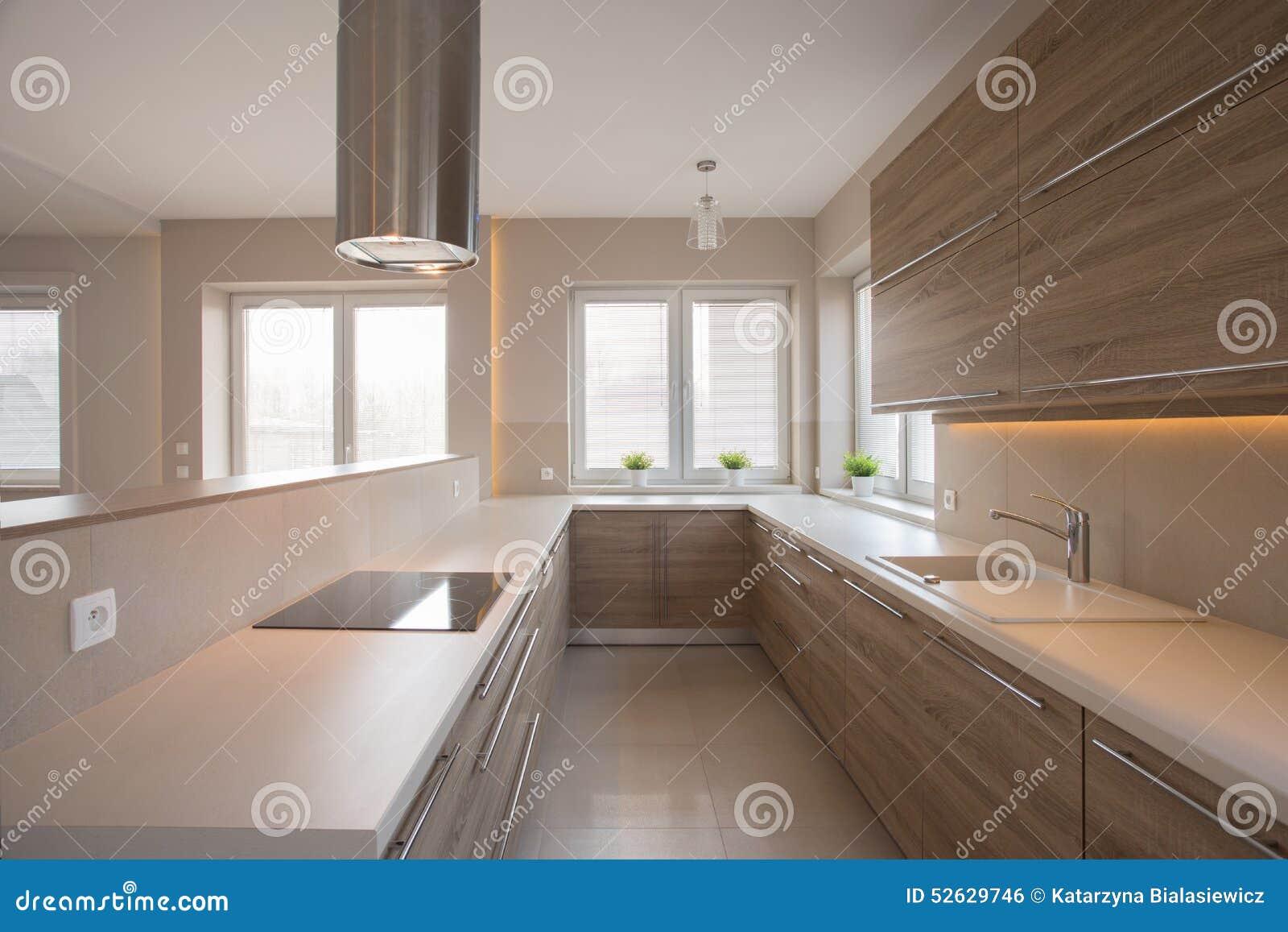 Placards en bois dans la cuisine beige photo stock image - Cuisine beige et bois ...