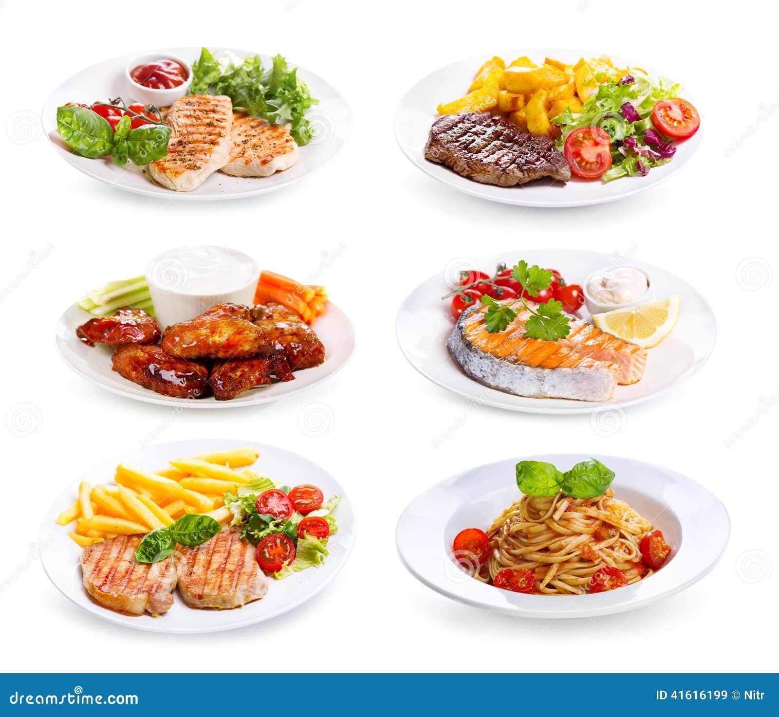 Placas da vários carne, peixes e galinha