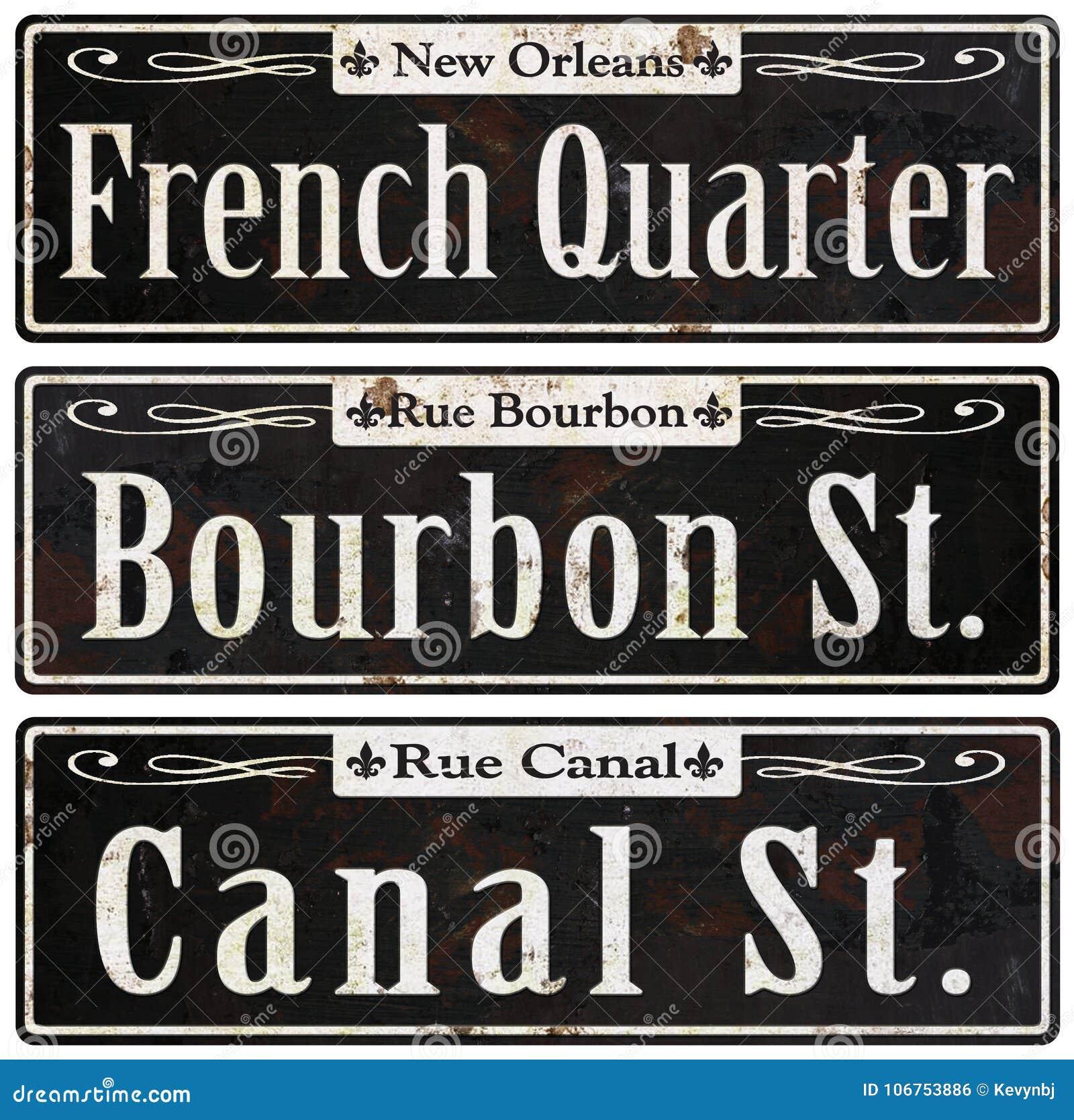 Placas de calle rústicas del vintage de New Orleans retras
