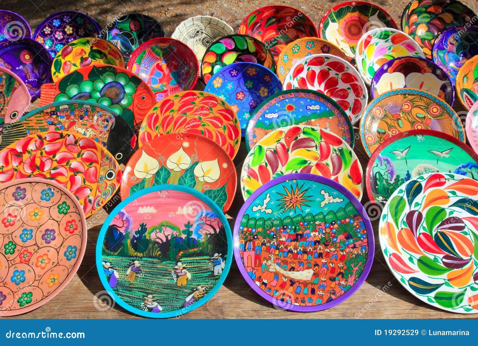 Placas de cer mica de la arcilla de m xico colorido imagen for Arcilla para ceramica