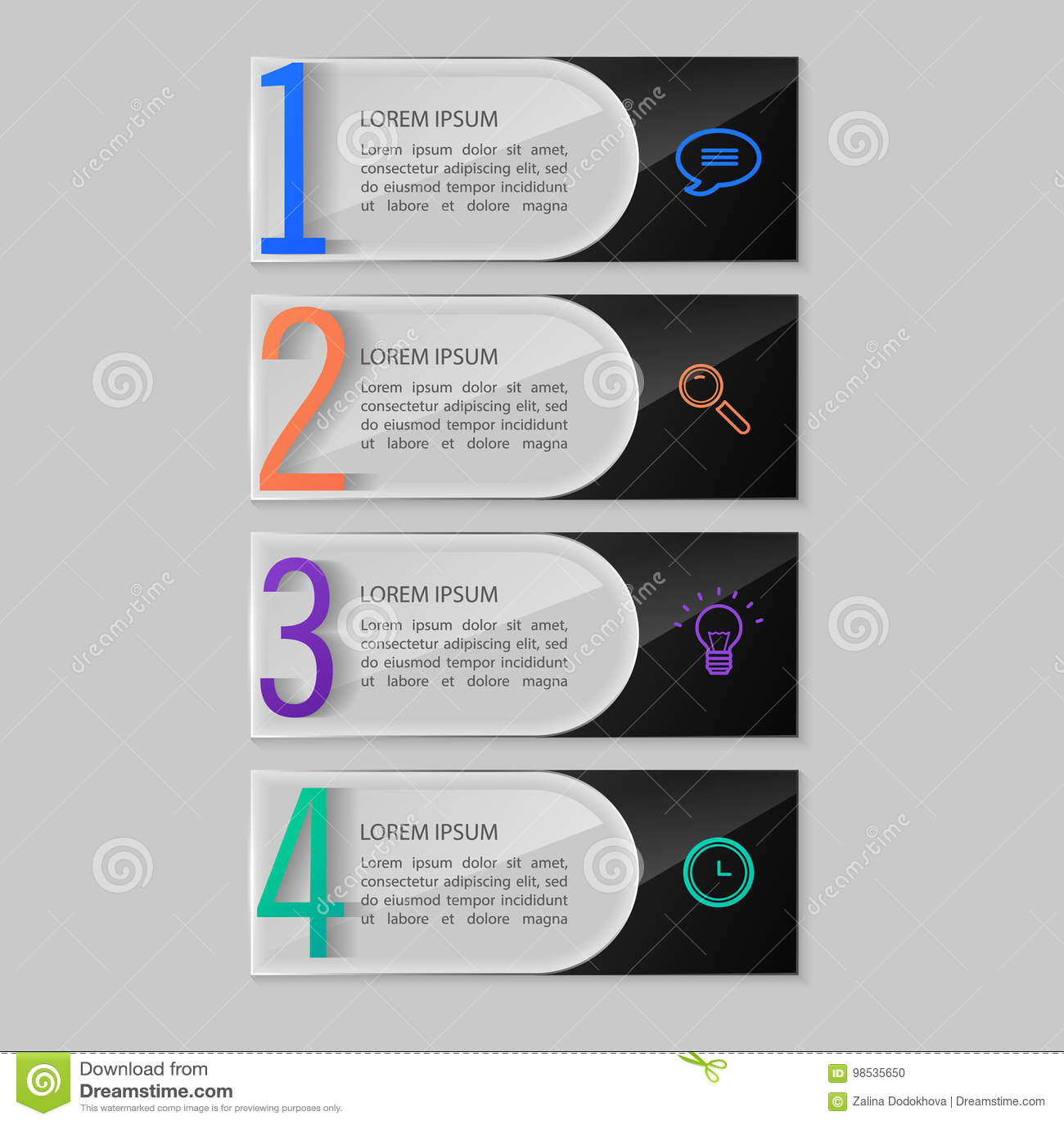 Placas de cristal fijadas, diseño infographic