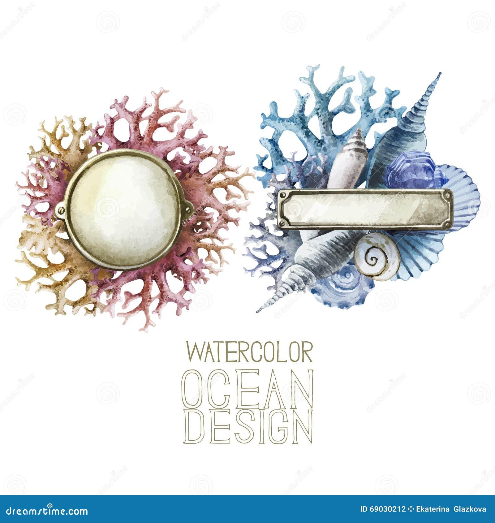 Placas de metal de la acuarela con diseño del océano