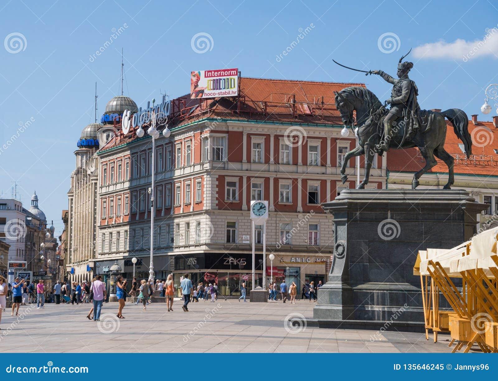 Place au centre de la capitale Zagreb de la Croatie