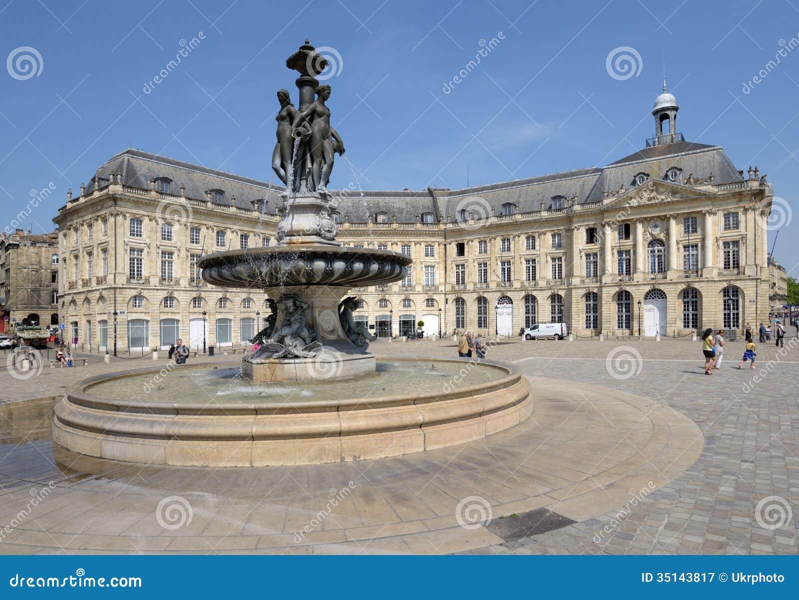 Place De La Bourse In Bordeaux France Editorial Photography Image