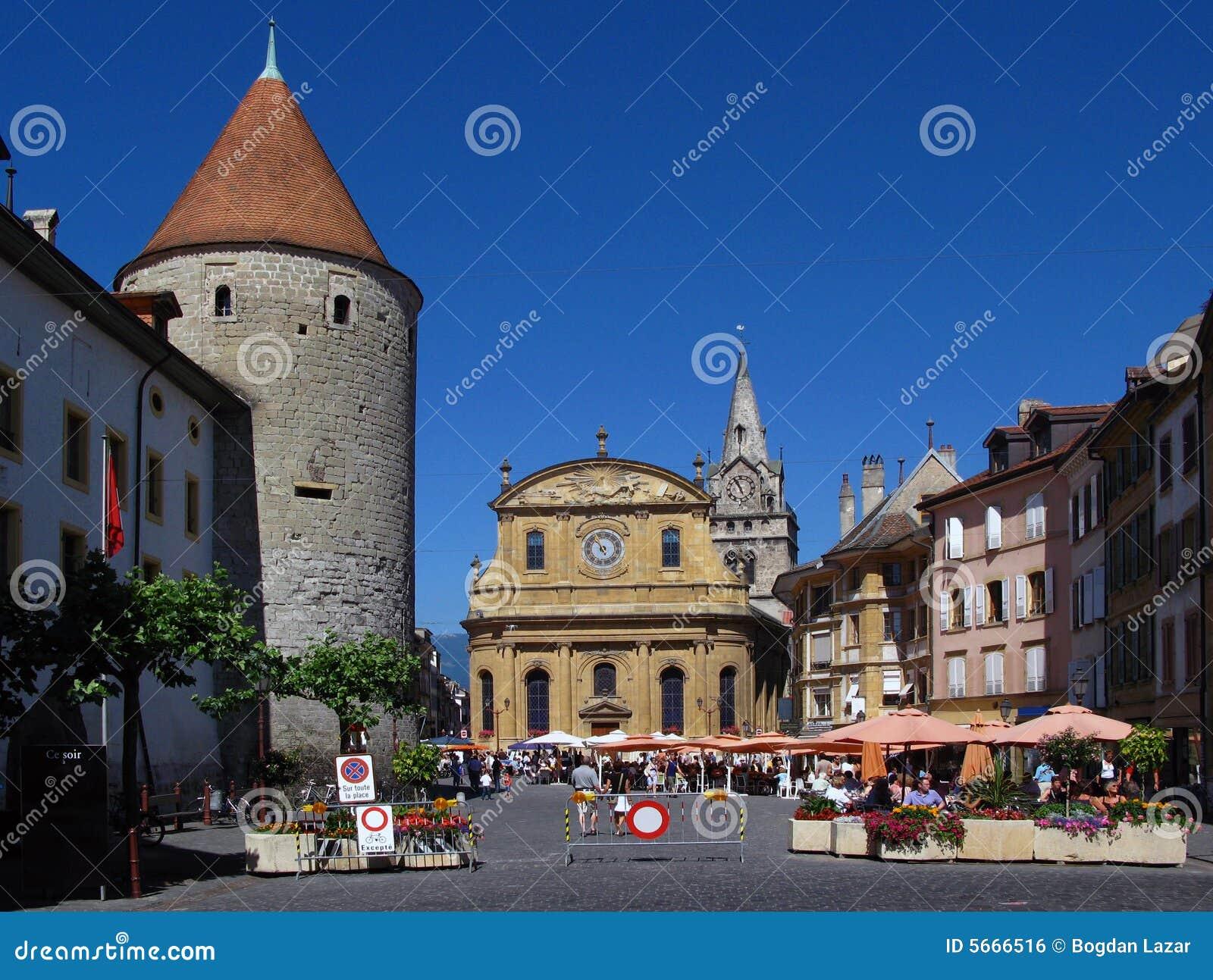 Place de pestalozzi yverdon les bains suisse photo stock for Location yverdon les bains