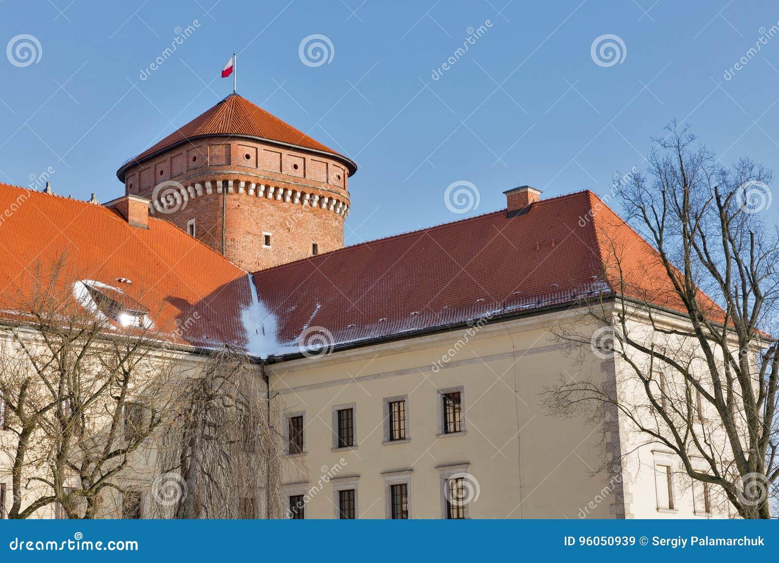 Place de yard de château de Wawel à Cracovie, Pologne