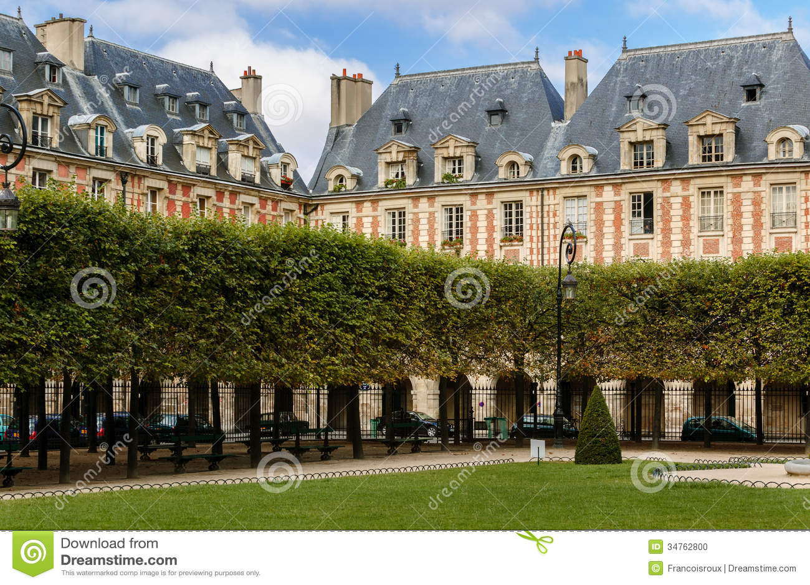place des vosges square in le marais paris fran stock photo image of bank france 34762800. Black Bedroom Furniture Sets. Home Design Ideas