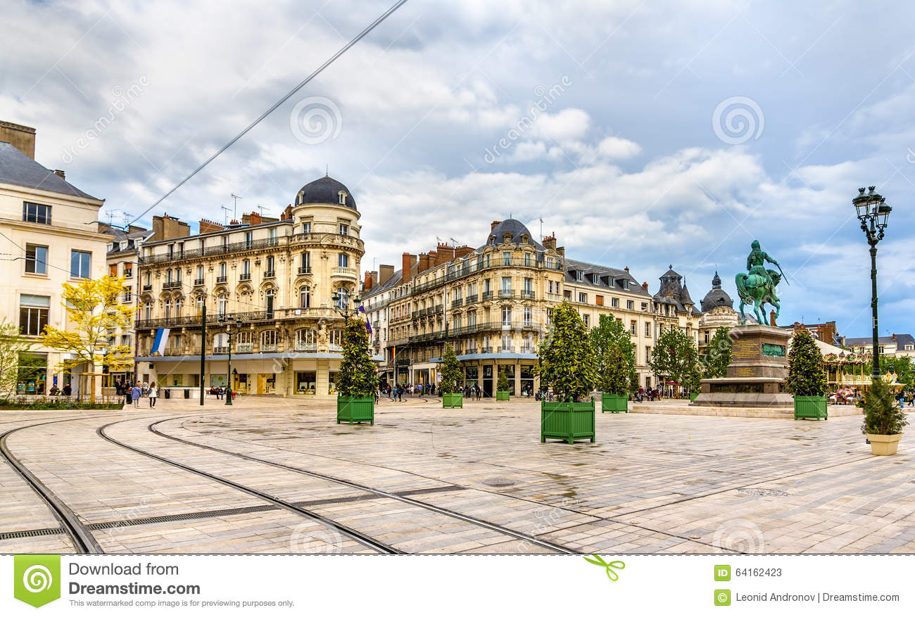 Place du martroi the main square of orleans stock photo for Chambre de commerce orleans