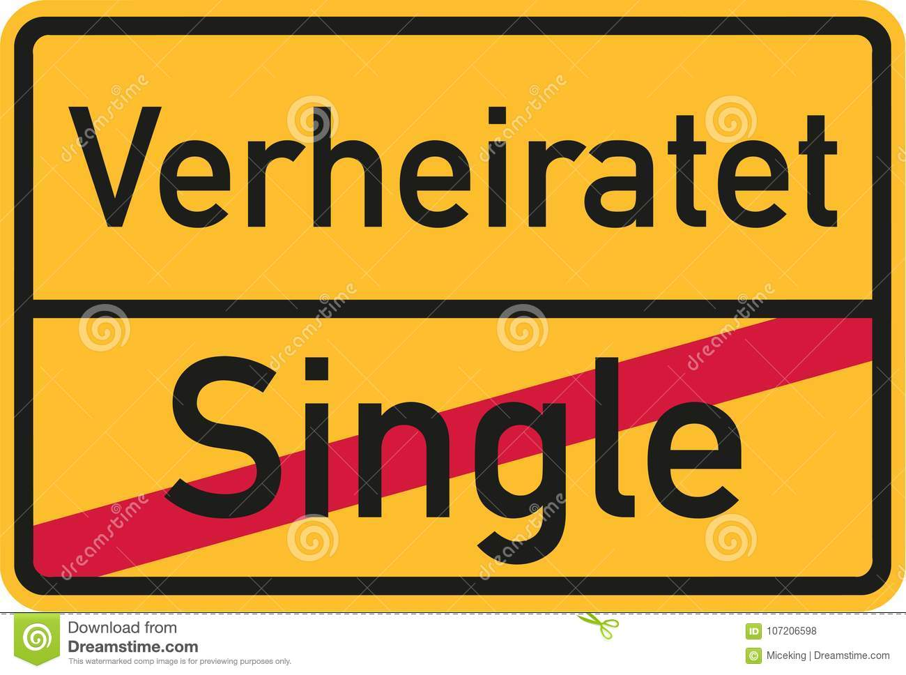 Place Name Sign From Single To Married German Stock Vector