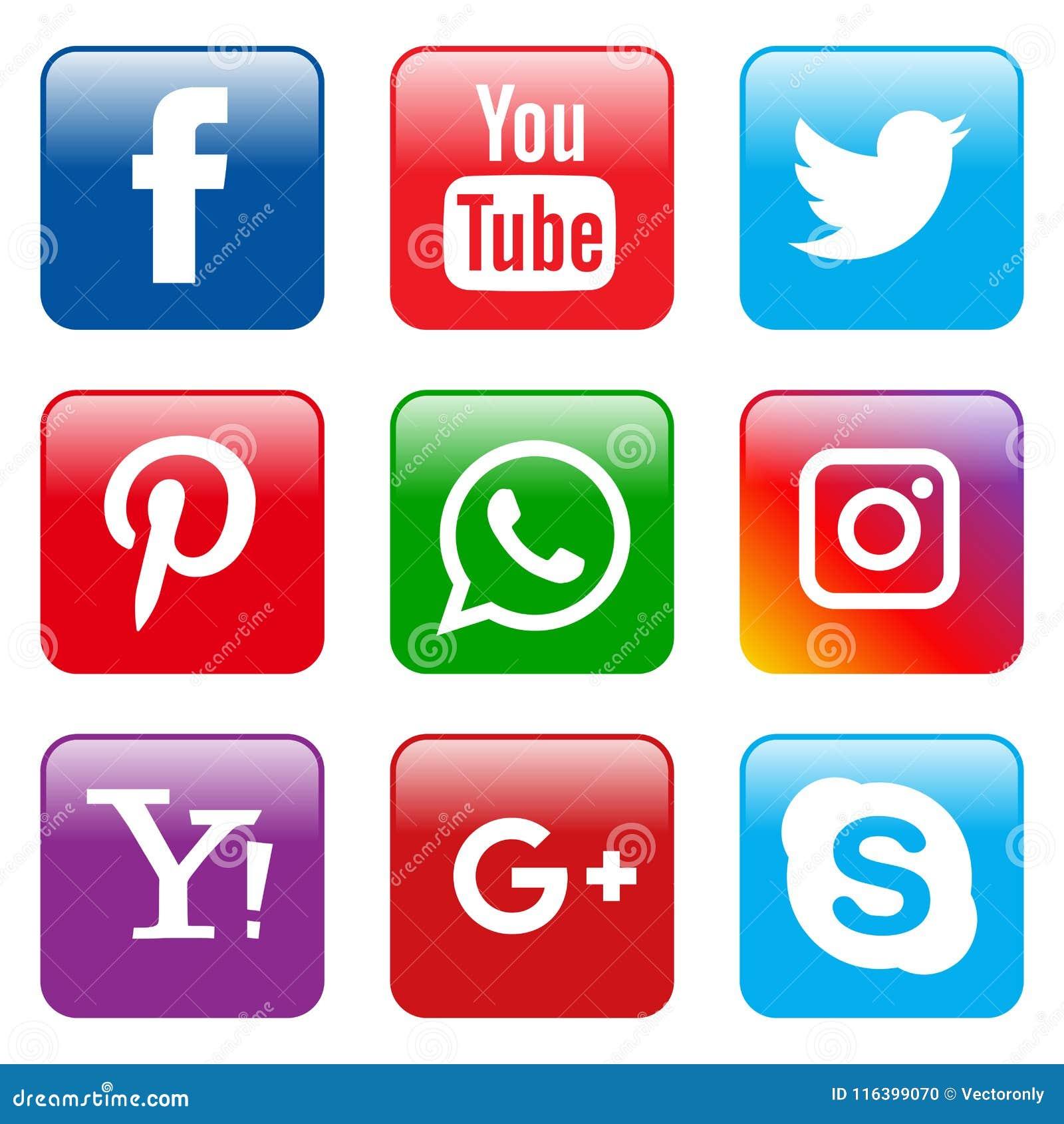 Place réglée d icônes sociales populaires de media