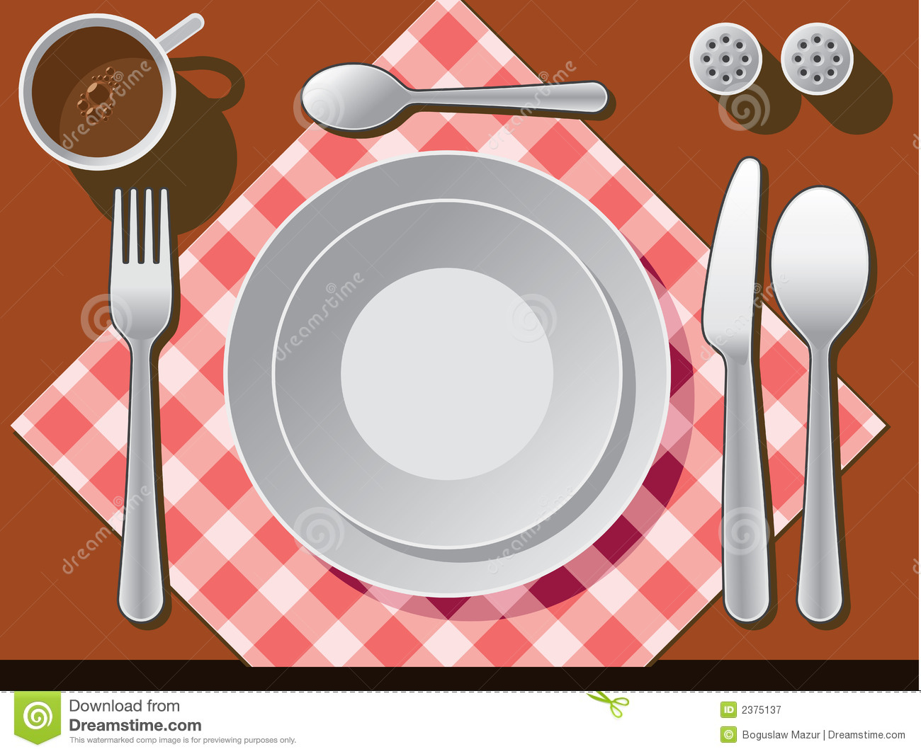Place setting stock vector. Illustration of coffee, breakfast - 2375137