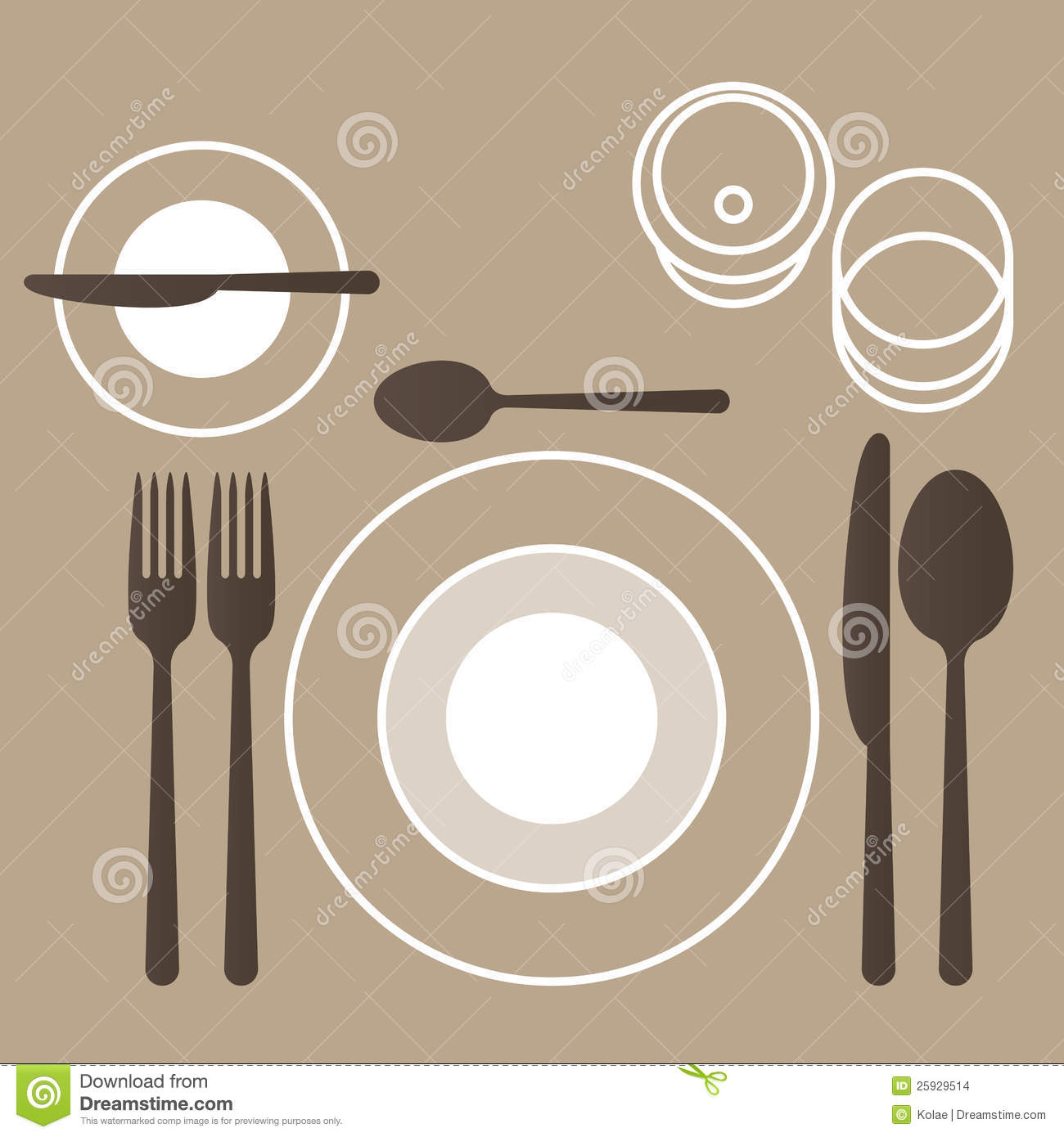 Place setting with plate, fork, spoon and knife.