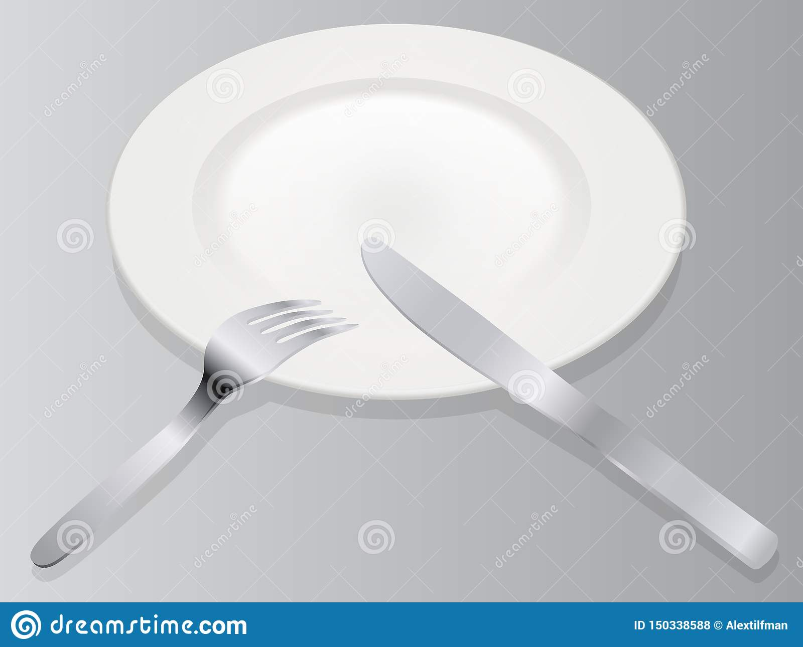 Place setting 3D vector illustration realistic empty plate with knife and fork isolated on gray background in isometric view on se