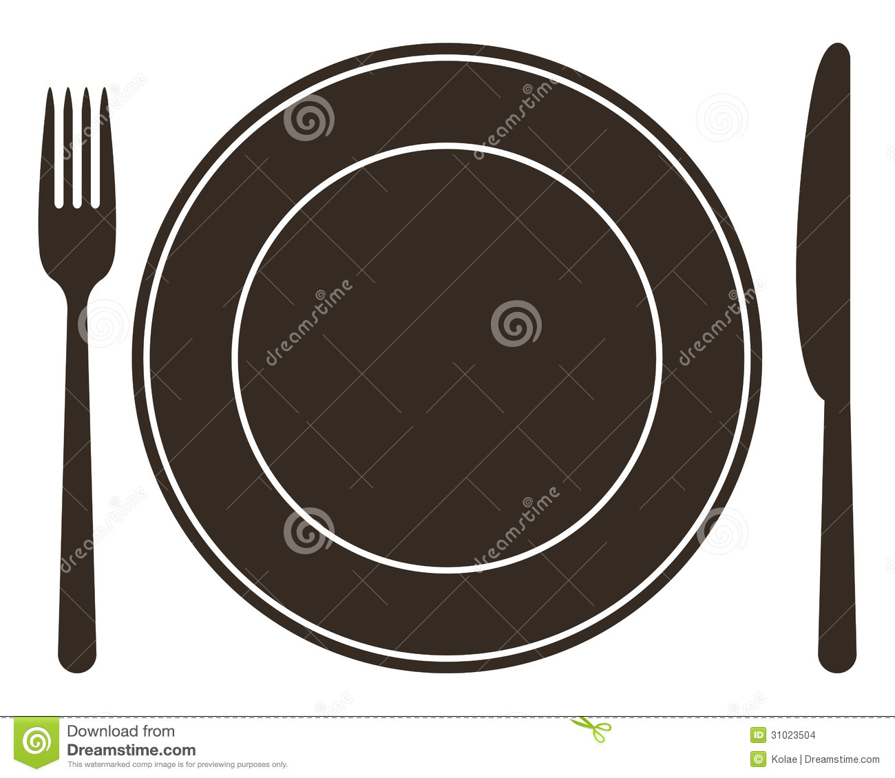 Place setting with plate, knife and fork isolated on white background.