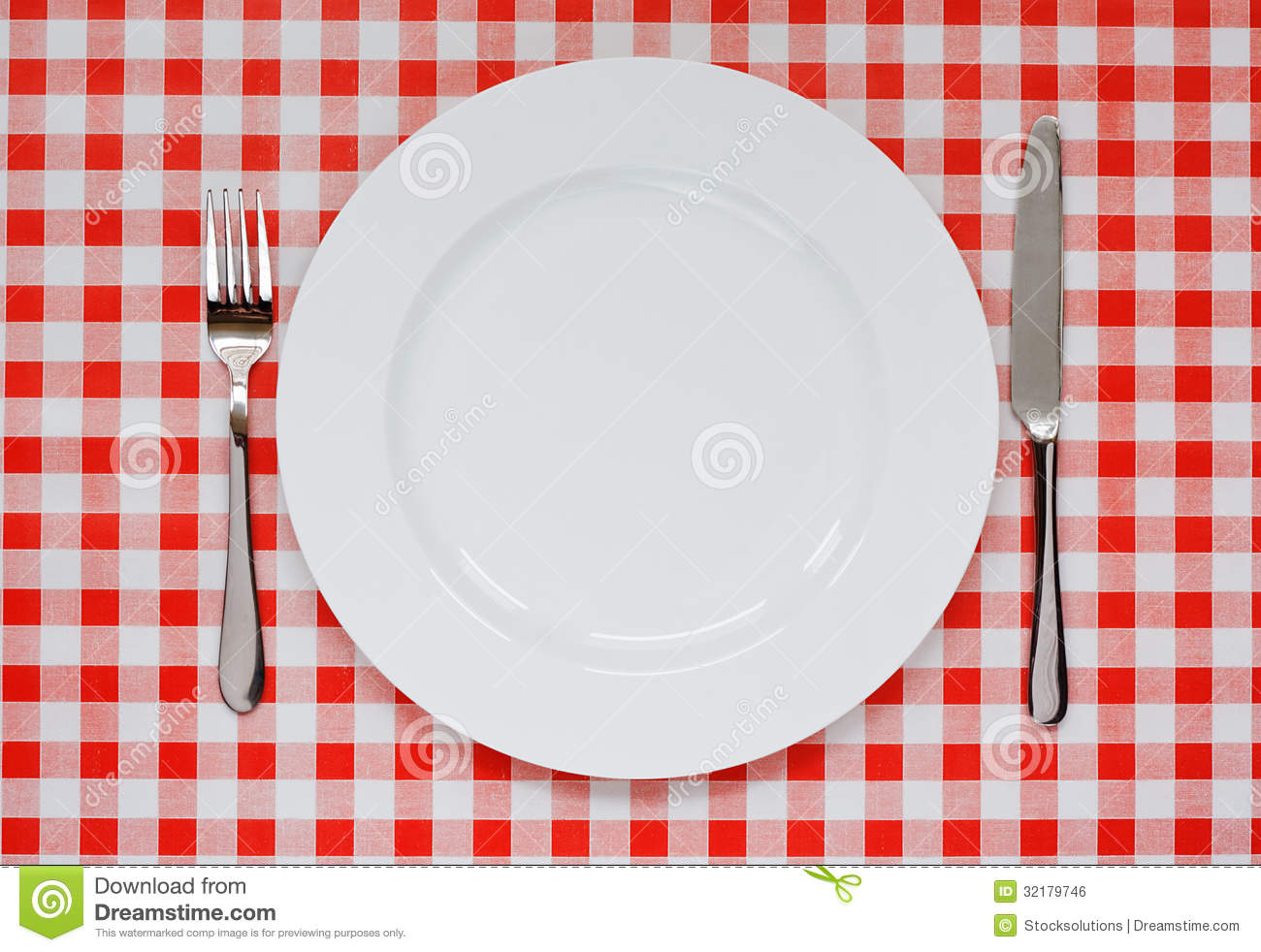 Place Setting On Red Gingham Tablecoth Stock Photo Image