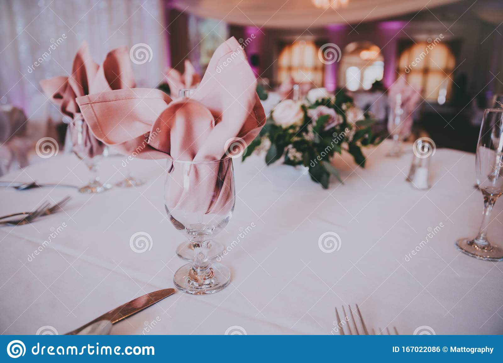 Place Settings For A Wedding Reception Stock Photo Image Of Celebration Glasses 167022086
