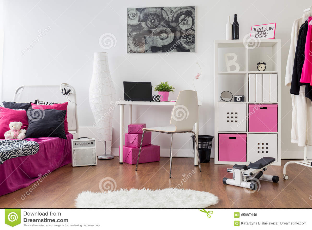 Place For Sleep, Study And Workout Stock Photo - Image of home, room ...