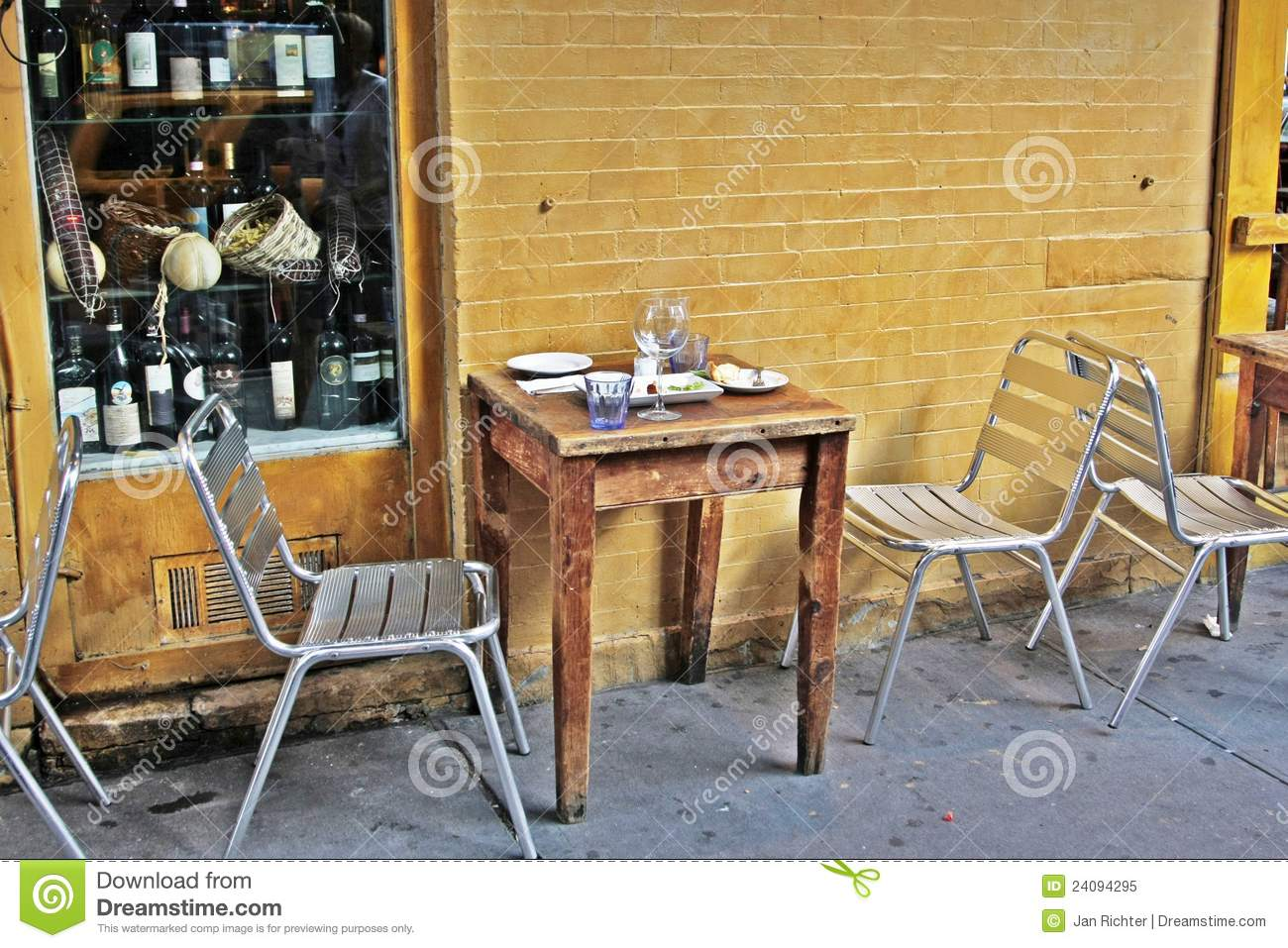 Place With A Table Outside A Small Restaurant Royalty Free
