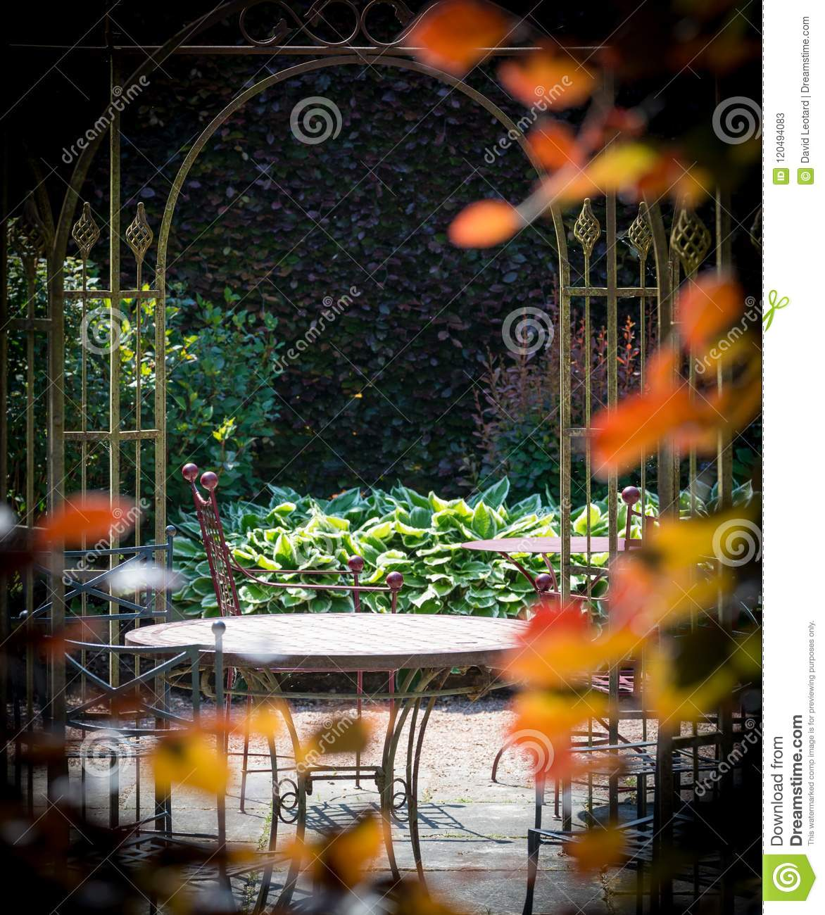 Garden with chairs and a table in the middle of shrubs in color.
