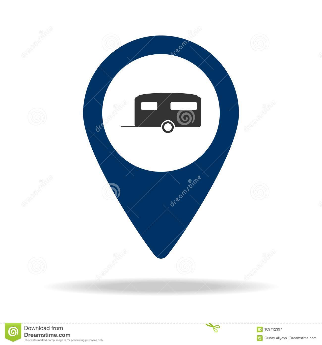 place for trailers in blue map pin icon. Element of map point for mobile concept and web apps. Icon for website design and develop