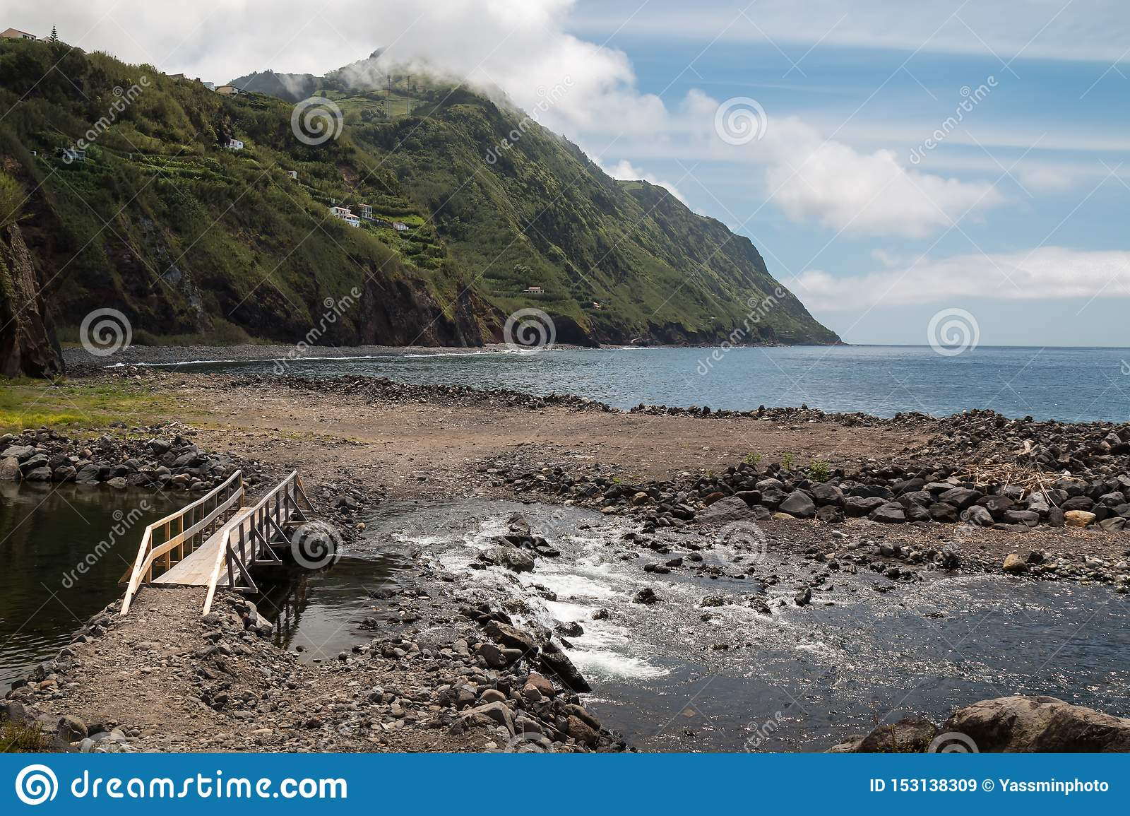 River flowing to the ocean, Povoacao, Sao Miguel