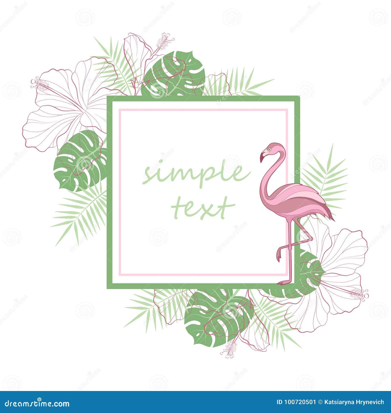 Placeholder del texto Palmera verde clara tropical exótica de la selva tropical de la selva, pájaros rosados del flamenco, hibisc