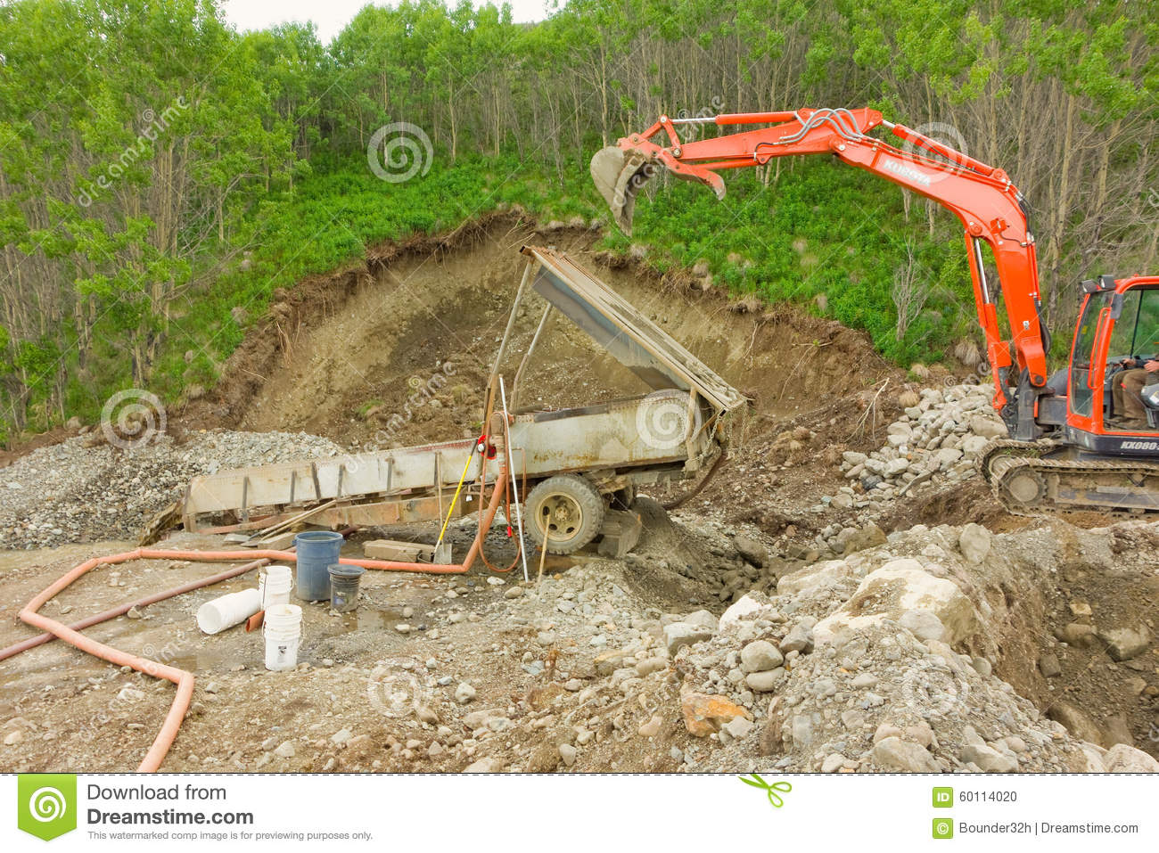 Mini Mining Equipment : Placer mining at a small claim in the yukon territories
