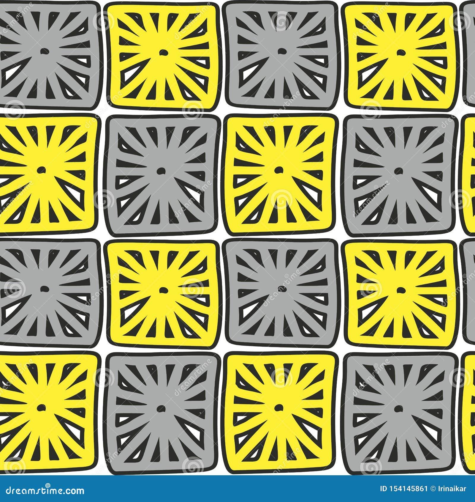 Places jaunes et grises modelées par résumé tiré par la main sur le fond blanc