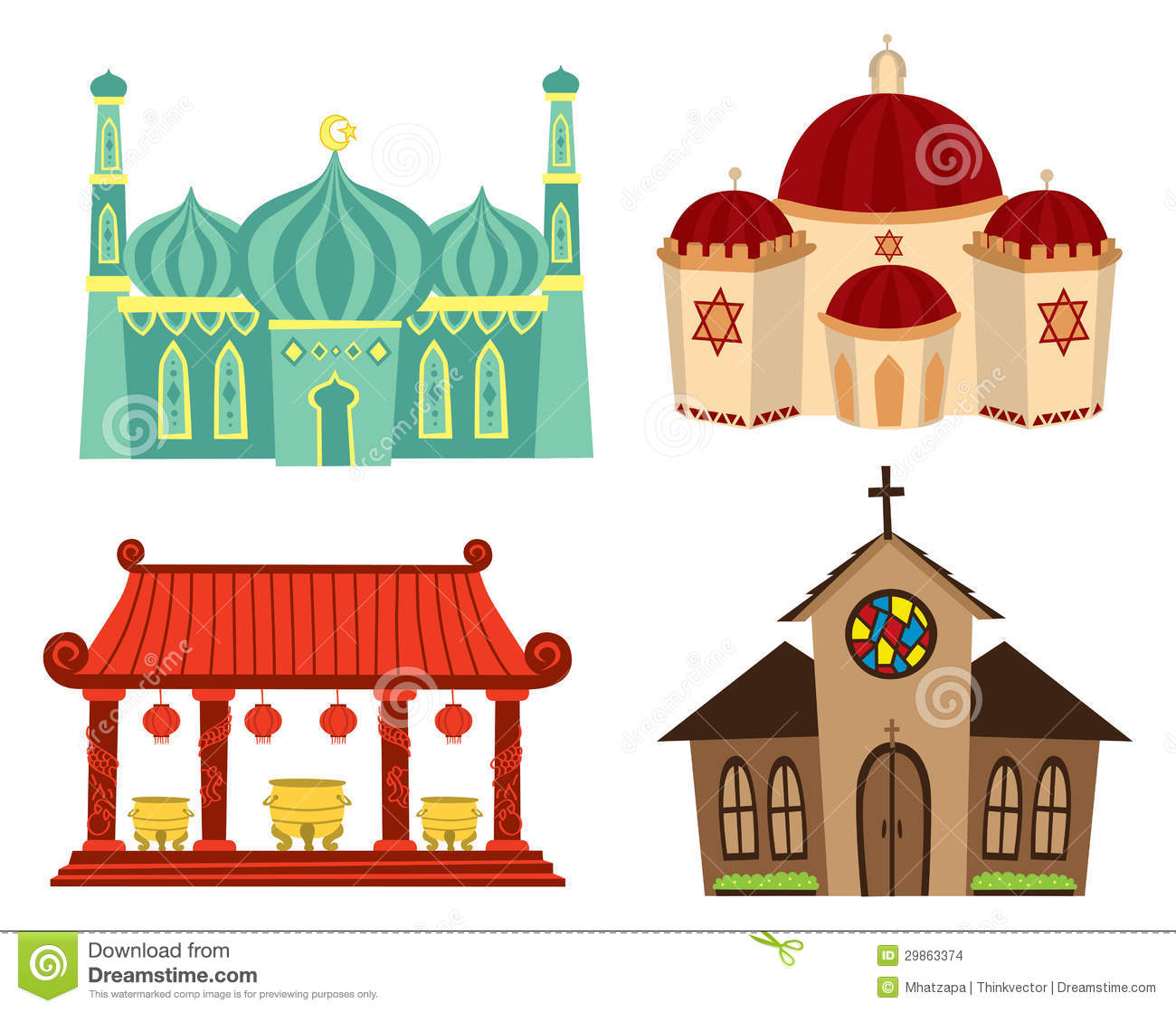 Places Of Worship For Taoism: Places Of Worship Stock Illustration. Illustration Of