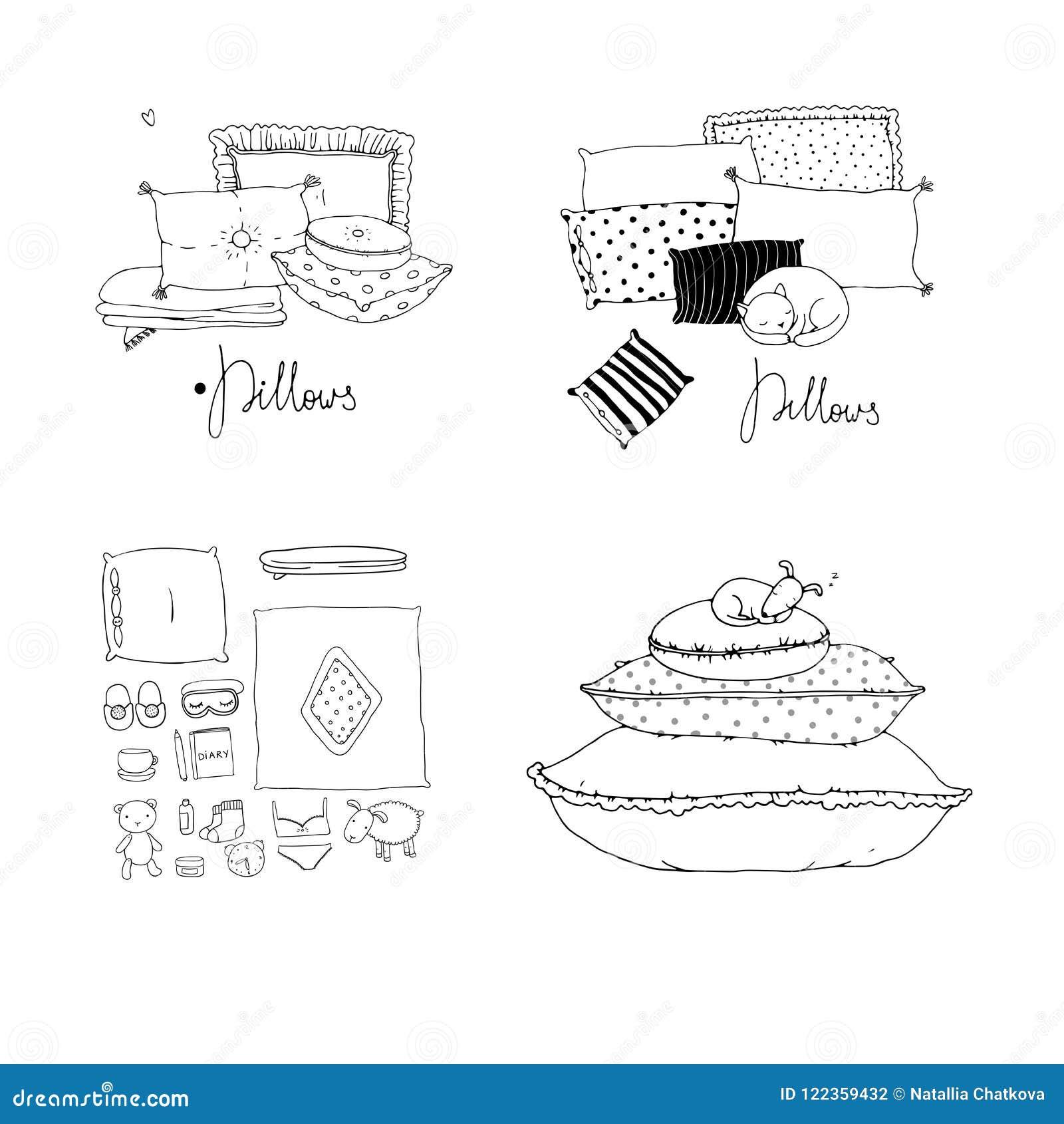 oreillers linge de lit Placez Avec Des Oreillers Linge De Lit Illustration de Vecteur  oreillers linge de lit