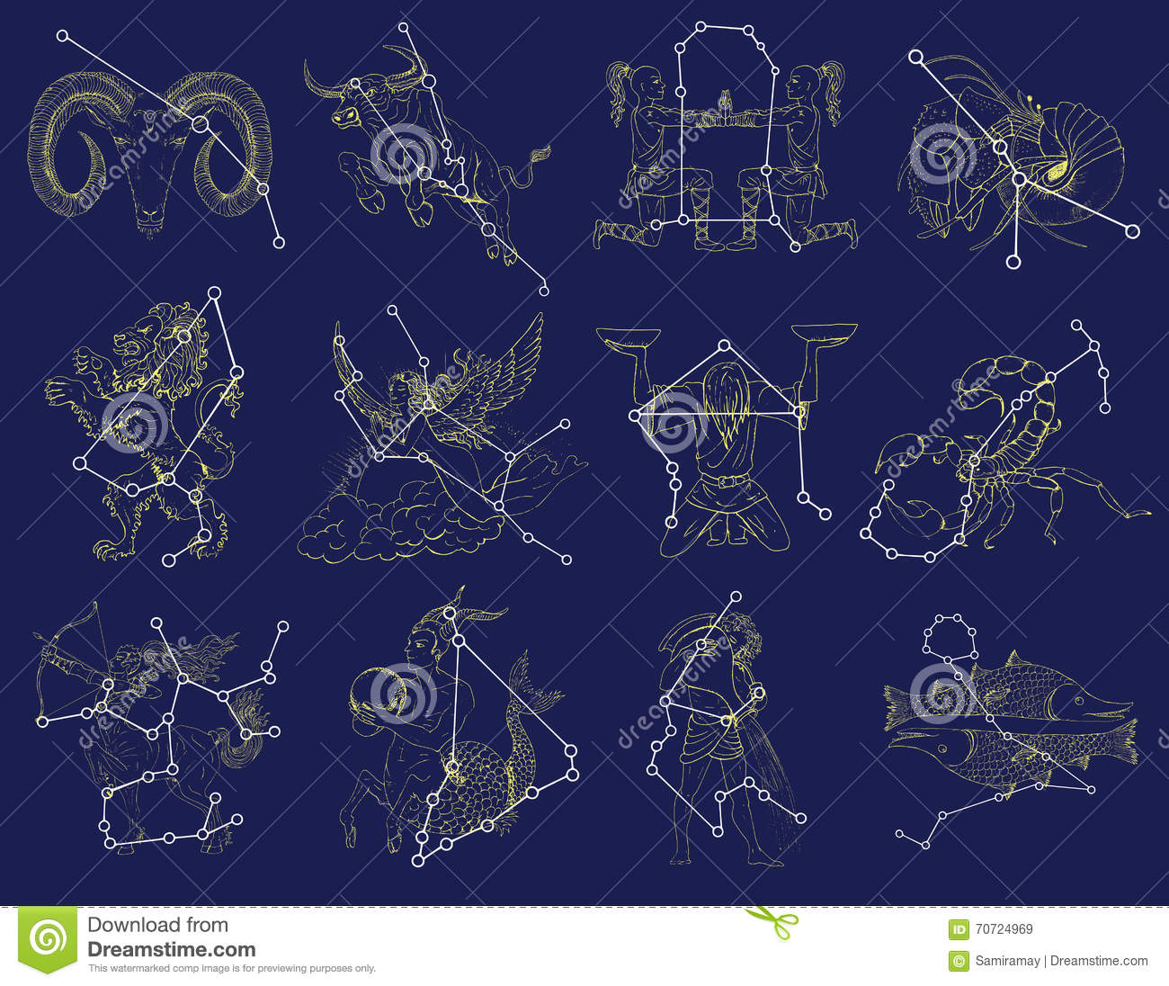 All Constellations Of The Zodiac Placez Avec Des Signes...