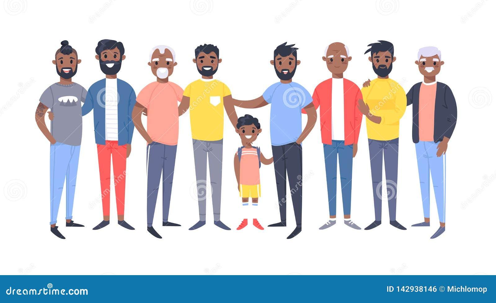 Placez d un groupe de différents hommes d afro-américain Caractères de style de bande dessinée de différents âges Personnes d ill