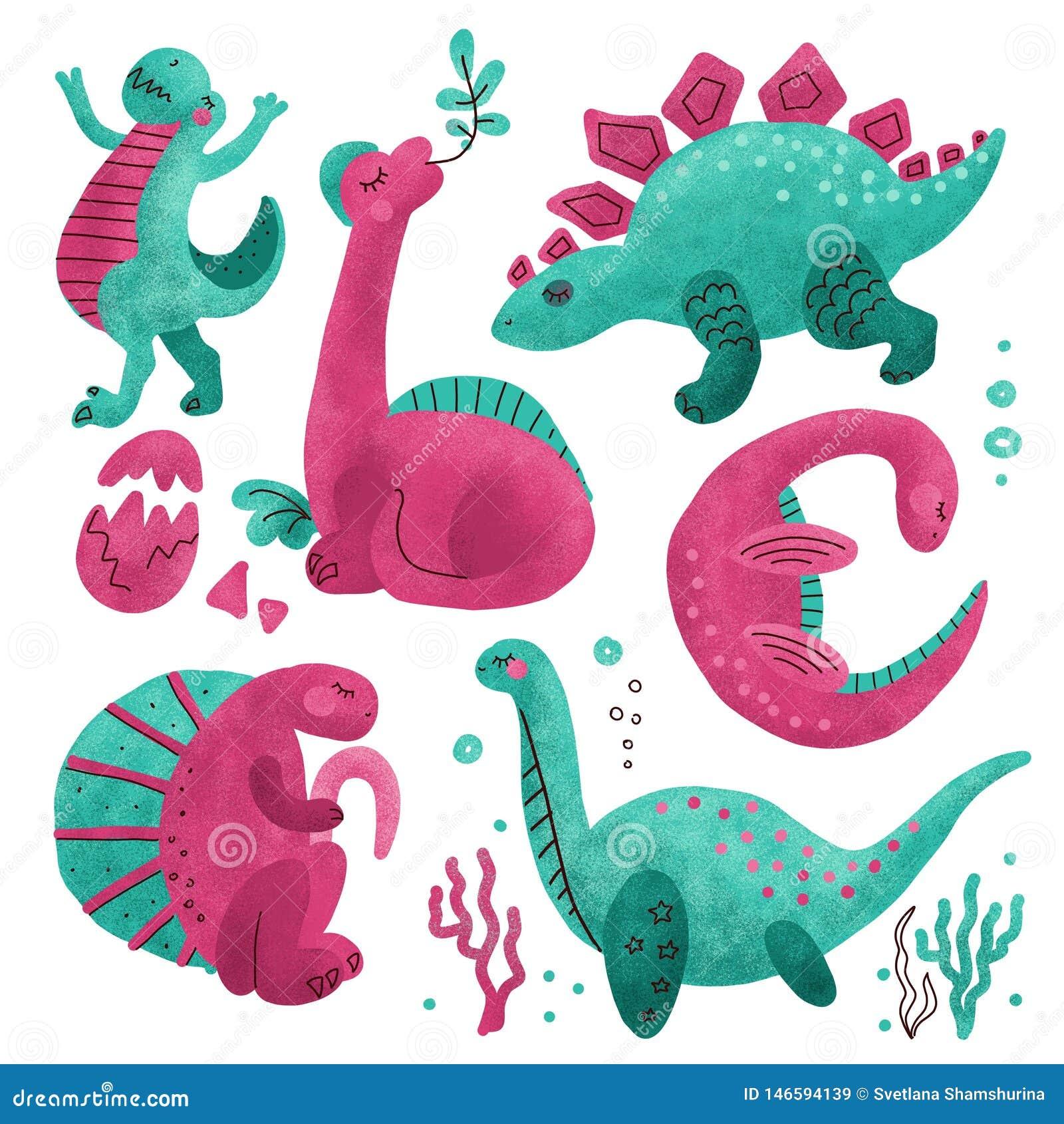 Placez de 5 caractères texturisés tirés par la main de couleur mignonne de dinosaure Clipart tir? par la main plat de Dino Reptil