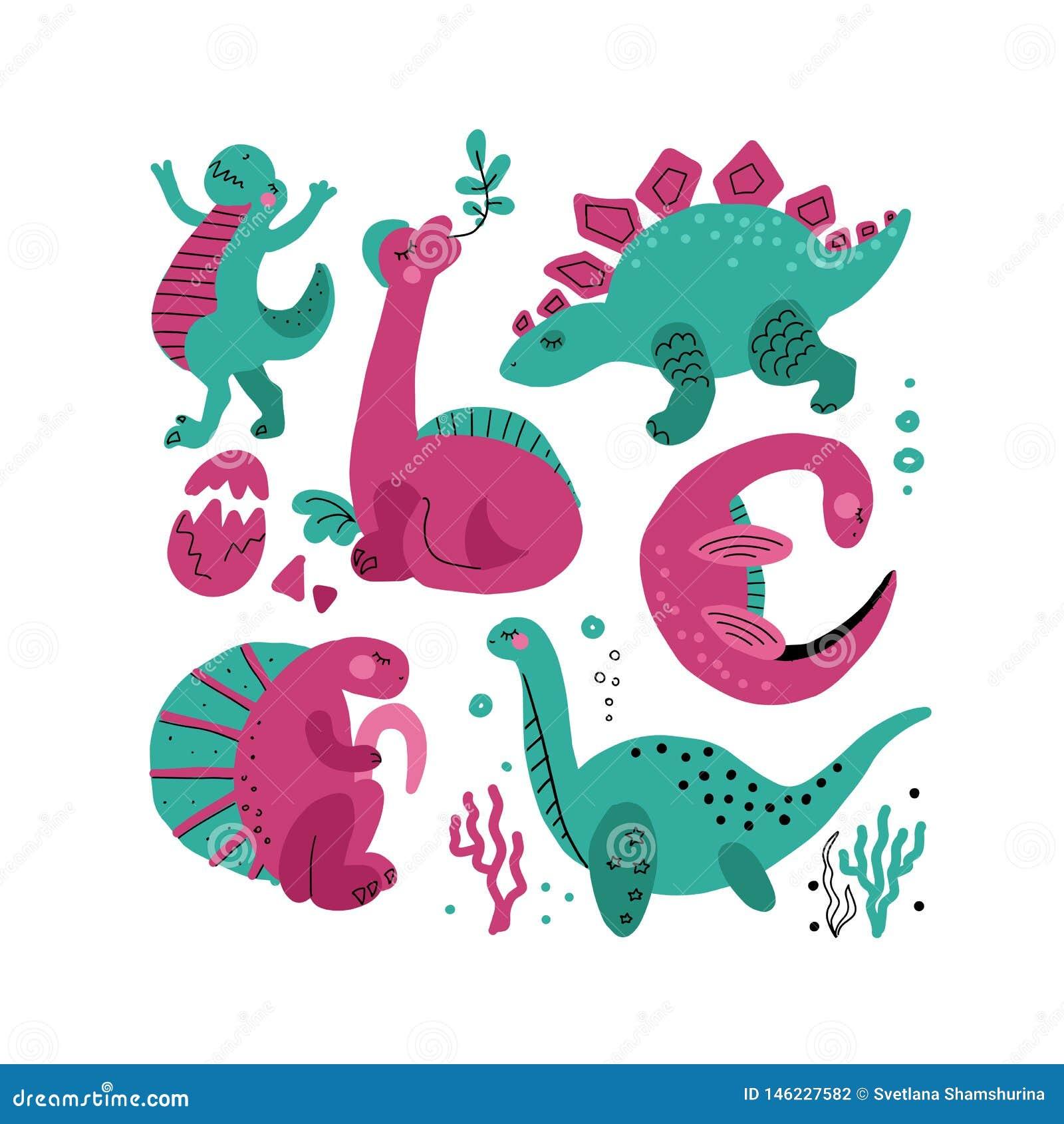 Placez de 5 caractères tirés par la main de vecteur de couleur mignonne de dinosaure Clipart tir? par la main plat de Dino Reptil