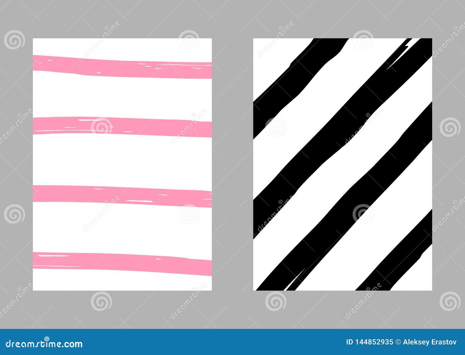 Placez de deux calibres ray?s verticaux dessin?s ? la main Croquis, grunge, peinture Illustration de vecteur Blanc, rose, noir