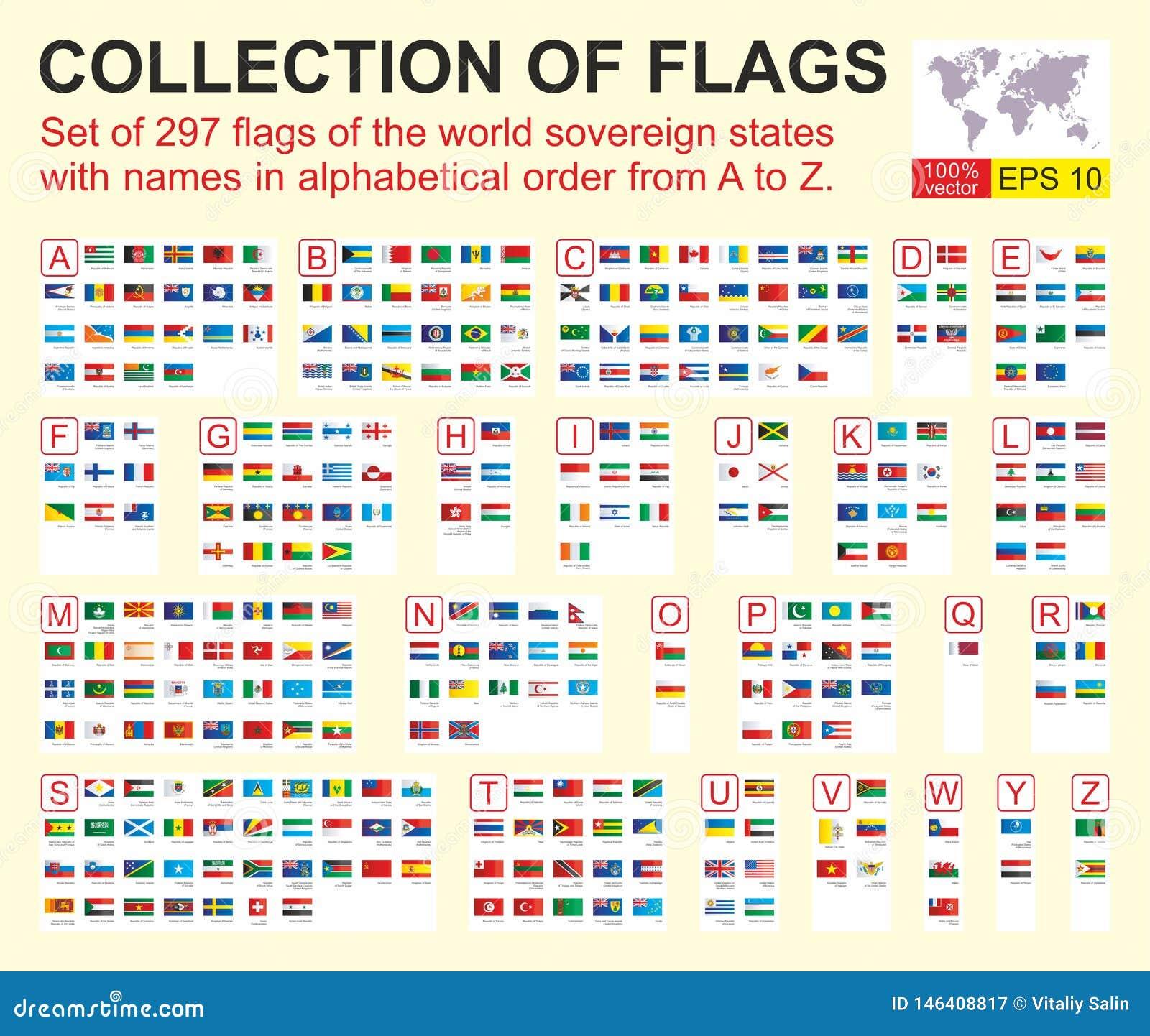 Placez de 297 drapeaux des ?tats souverains du monde avec des noms dans l ordre alphab?tique d A ? Z Illustration de vecteur