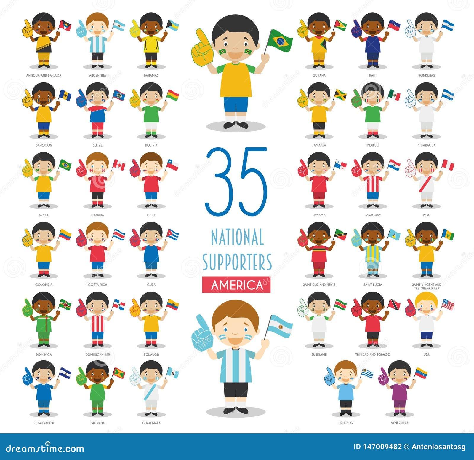 Placez de l équipe de sport 35 nationale que les fans des pays américains dirigent l illustration