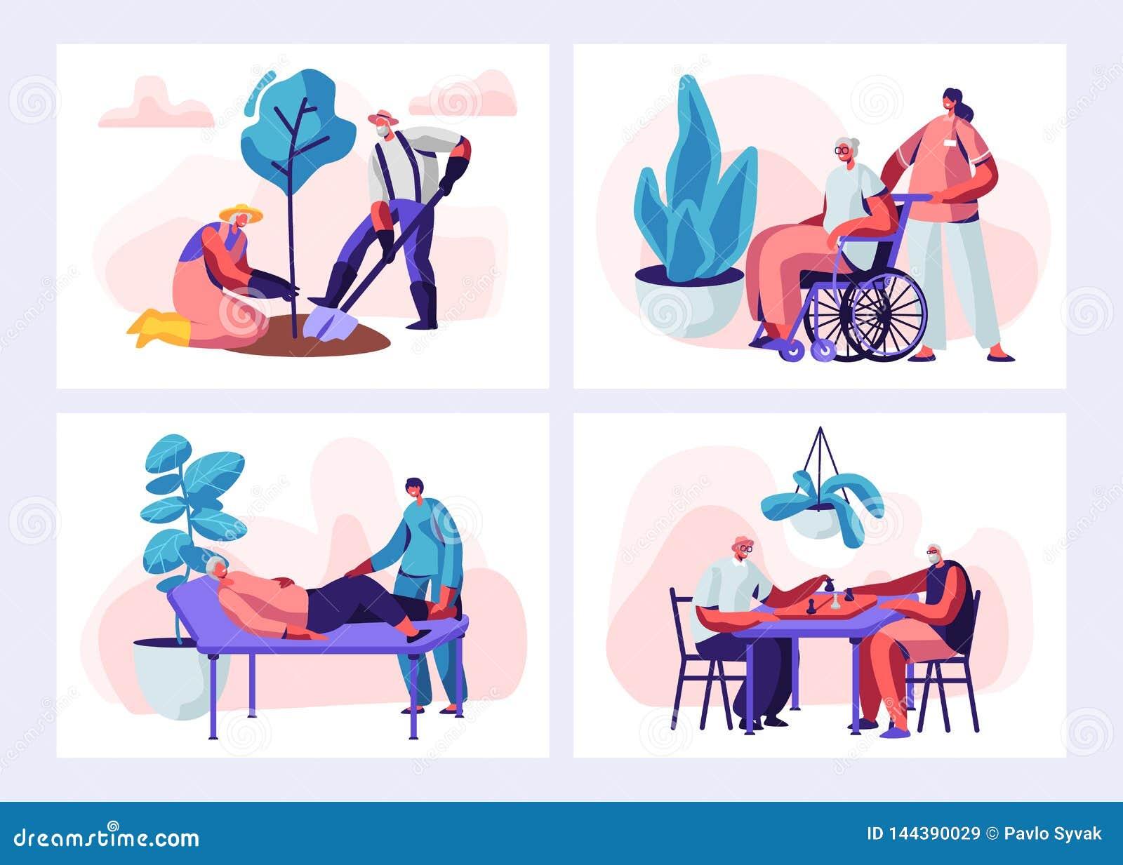 Placez de l activité et du mode de vie supérieurs de personnes Caractères âgés passe-temps de jardinage, dame âgée sur l acte méd