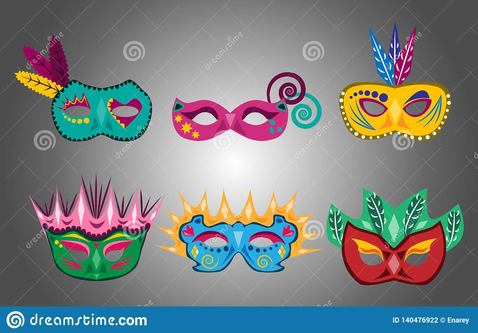 Placez de l amusement et des masques colorés de carnaval