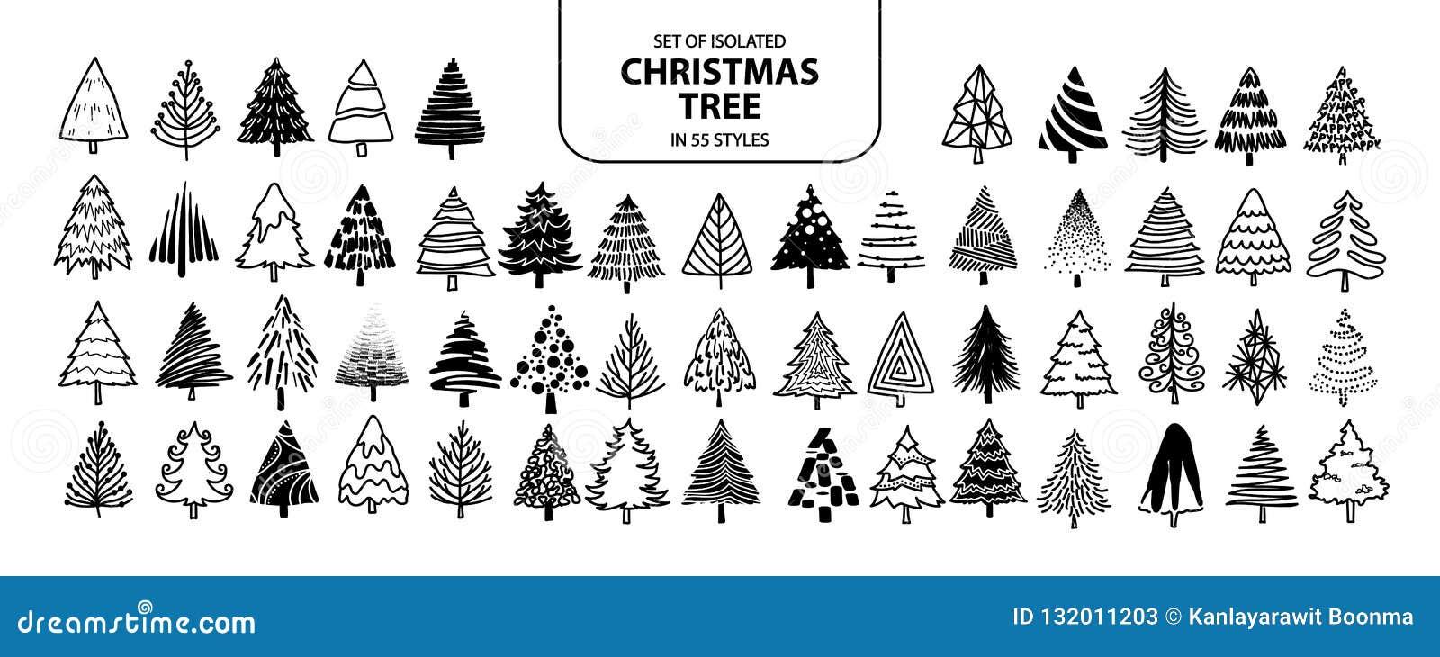 Placez de l arbre de Noël d isolement dans 55 styles